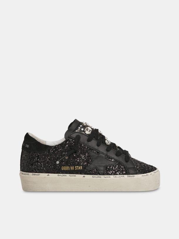 Limited Edition Hi Star sneakers with black glitter and crystals on the tongue