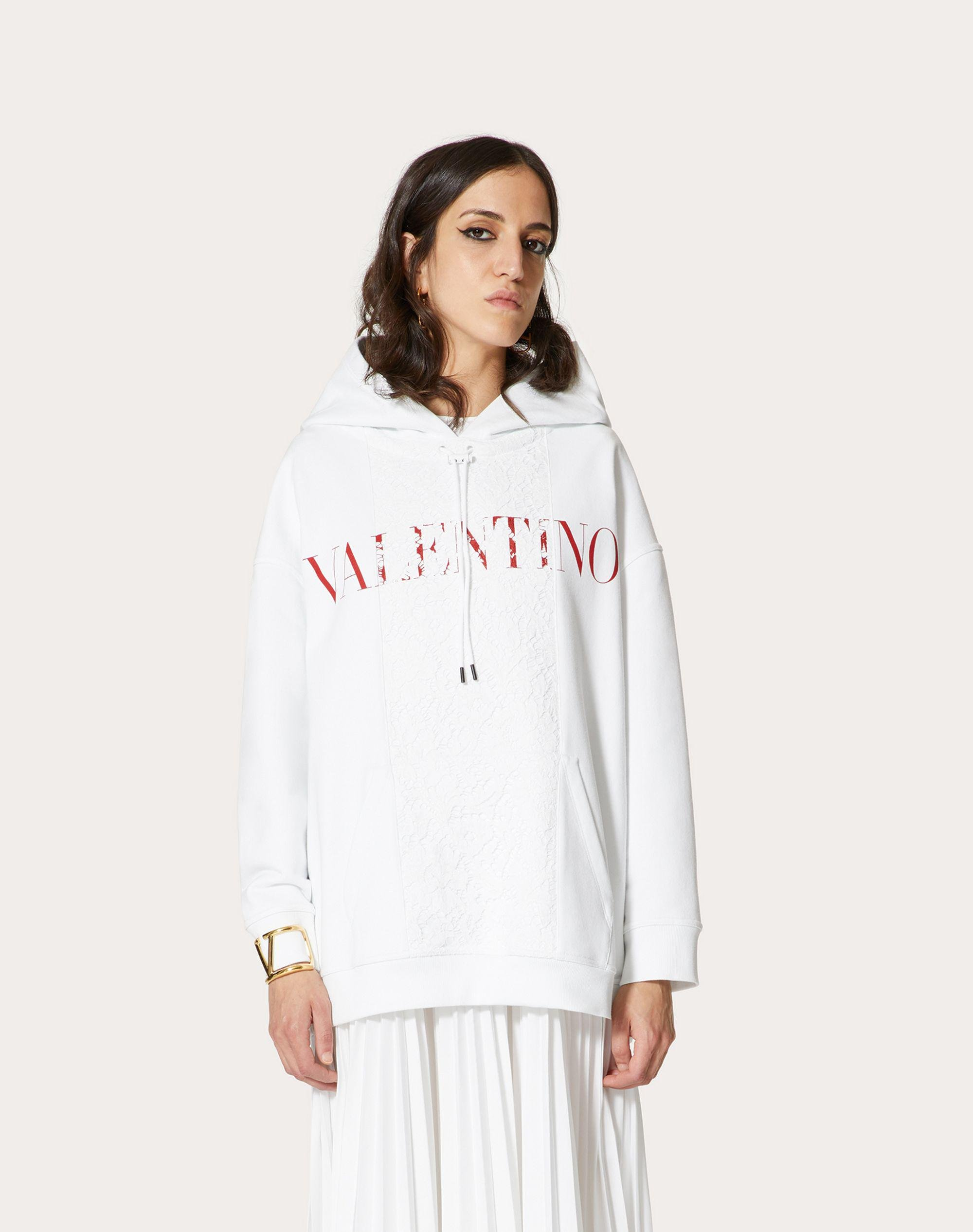 JERSEY AND HEAVY LACE SWEATSHIRT 1