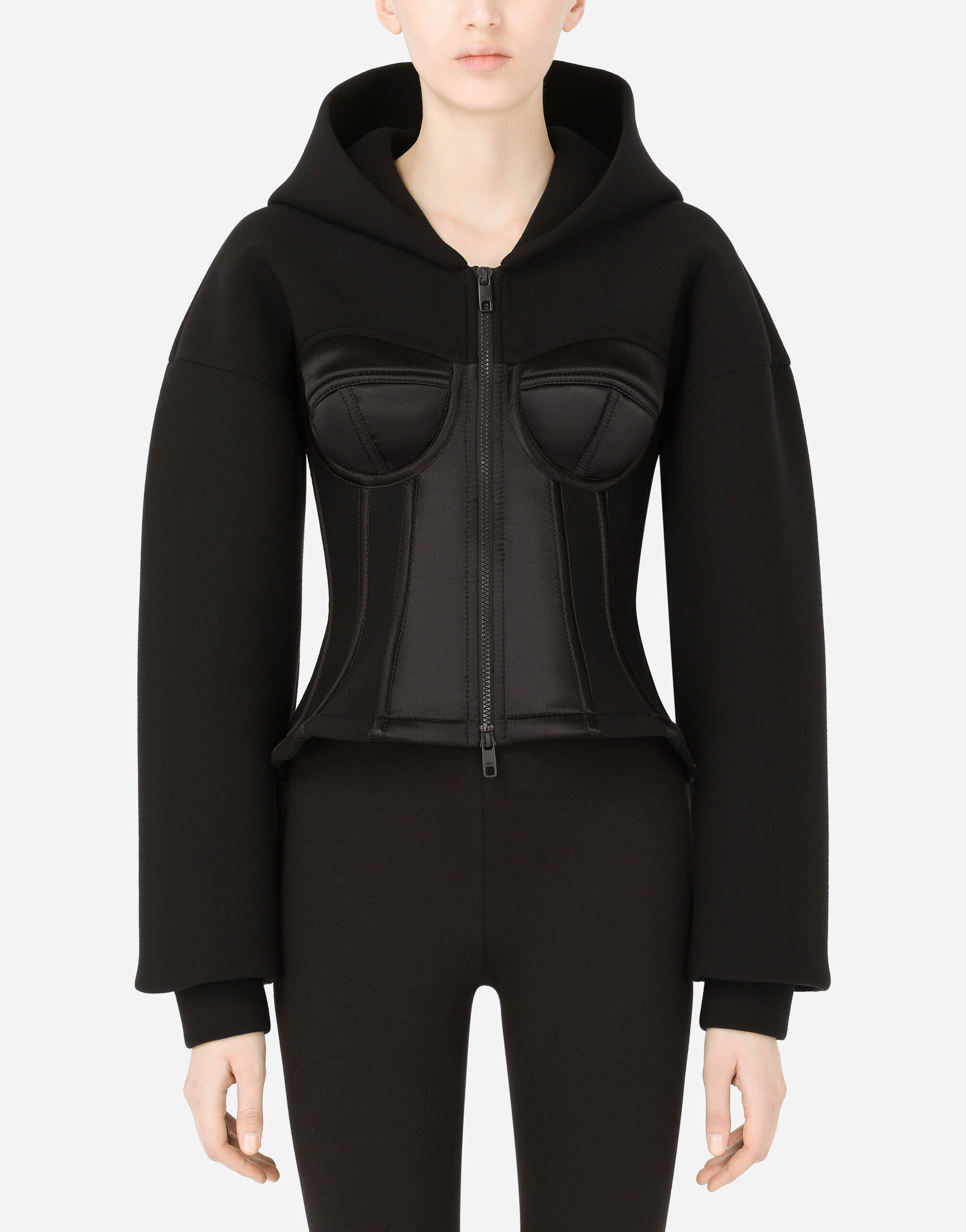 Technical jersey hoodie with satin bustier details