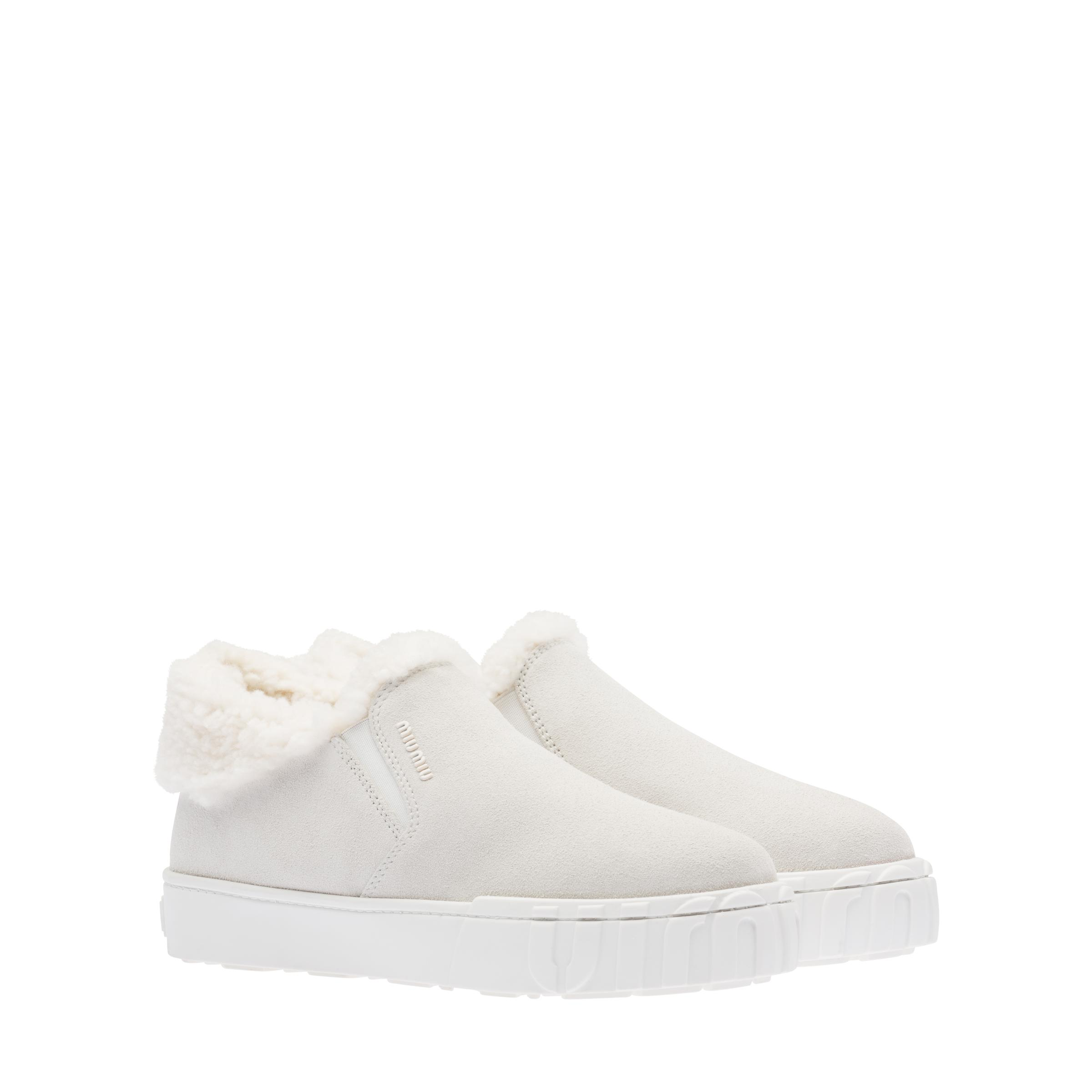 Suede Slip-on Ankle Boots Women Chalk White