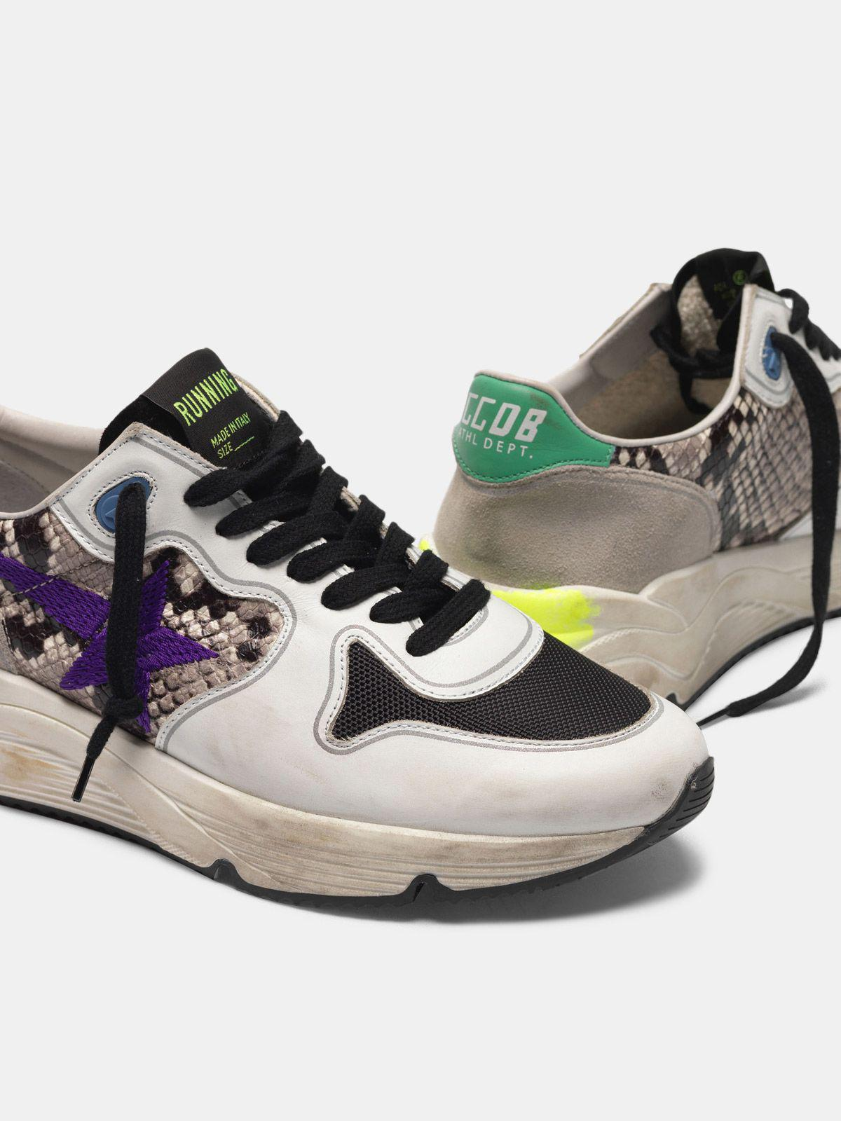 Running Sole sneakers in snakeskin print leather with purple embroidered star 3