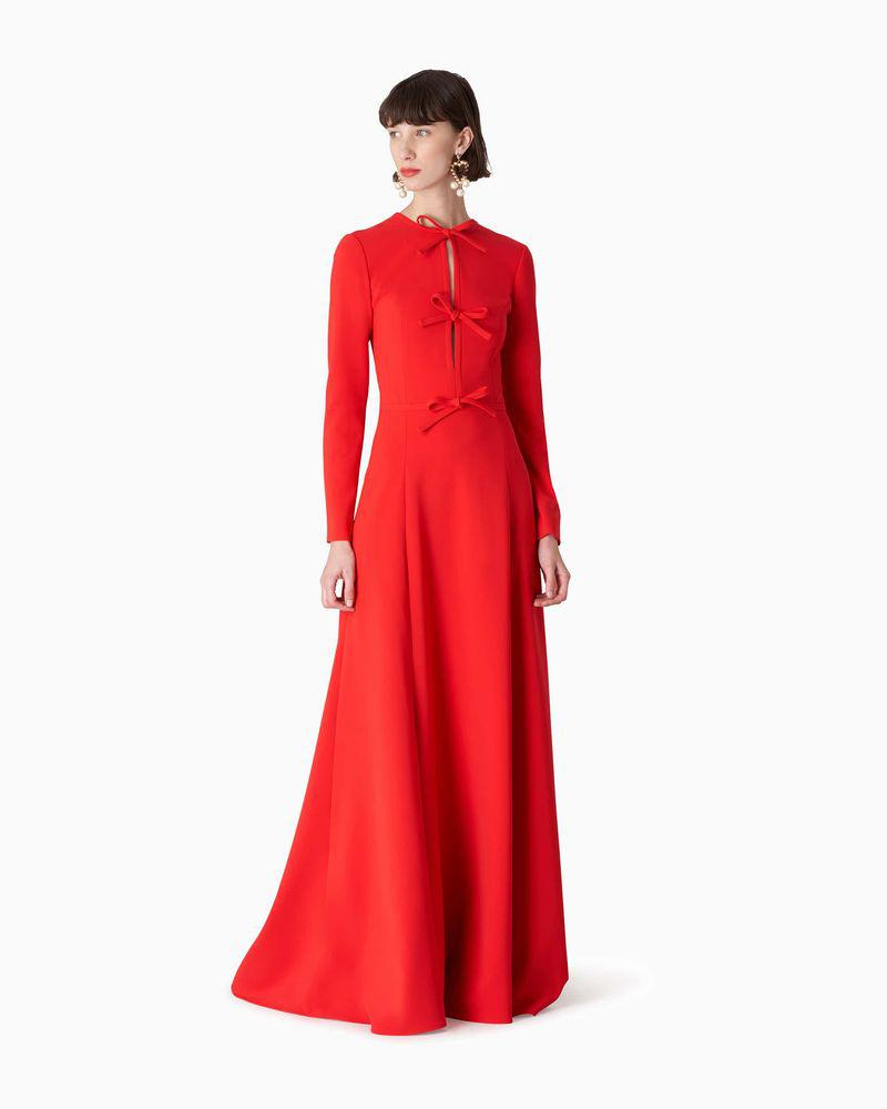 Triple Bow Crepe Gown
