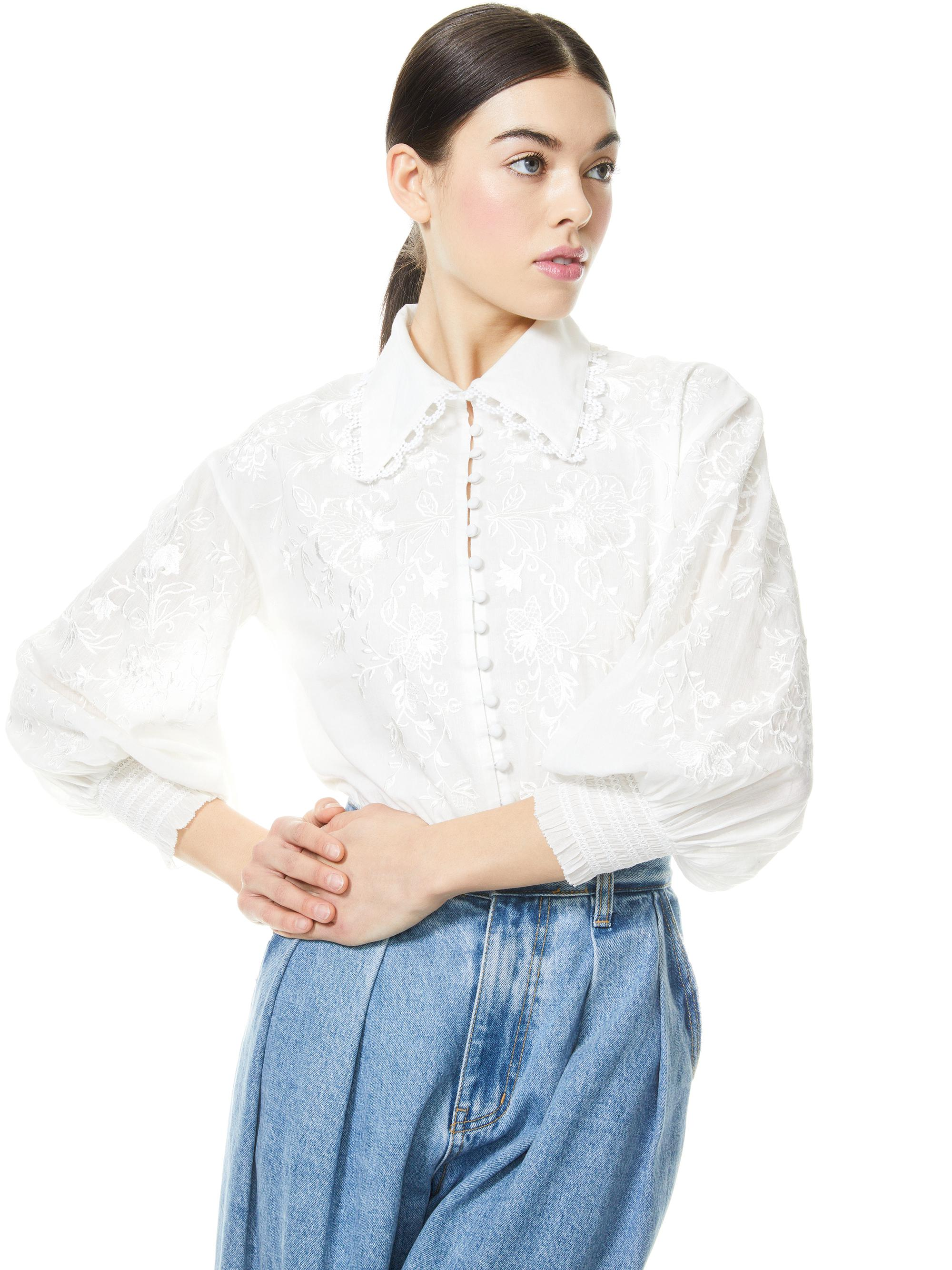 ONELLA EMBROIDERED BUTTON FRONT BLOUSE