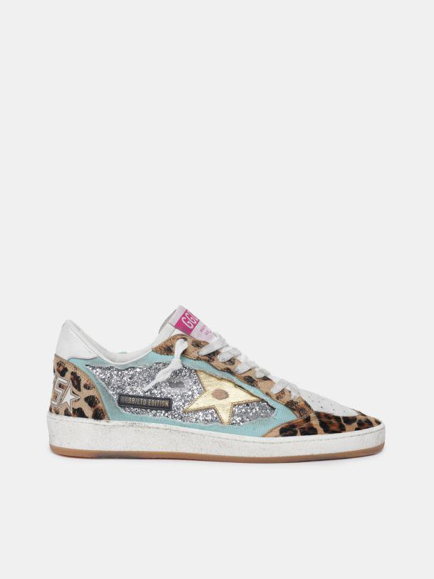 LTD Ball Star sneakers with silver glitter and leopard-print pony skin