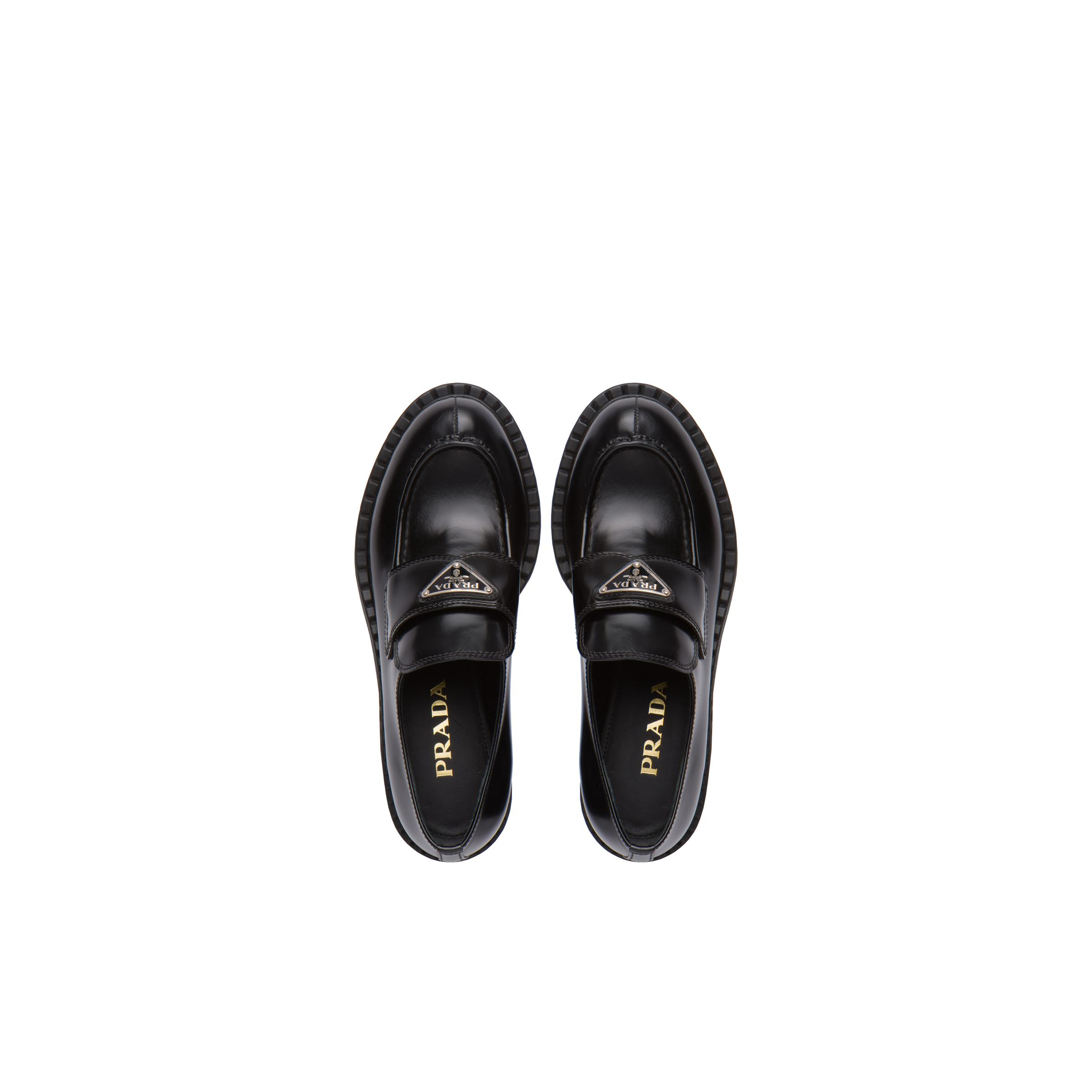 Brushed Leather Loafers Women Black 1