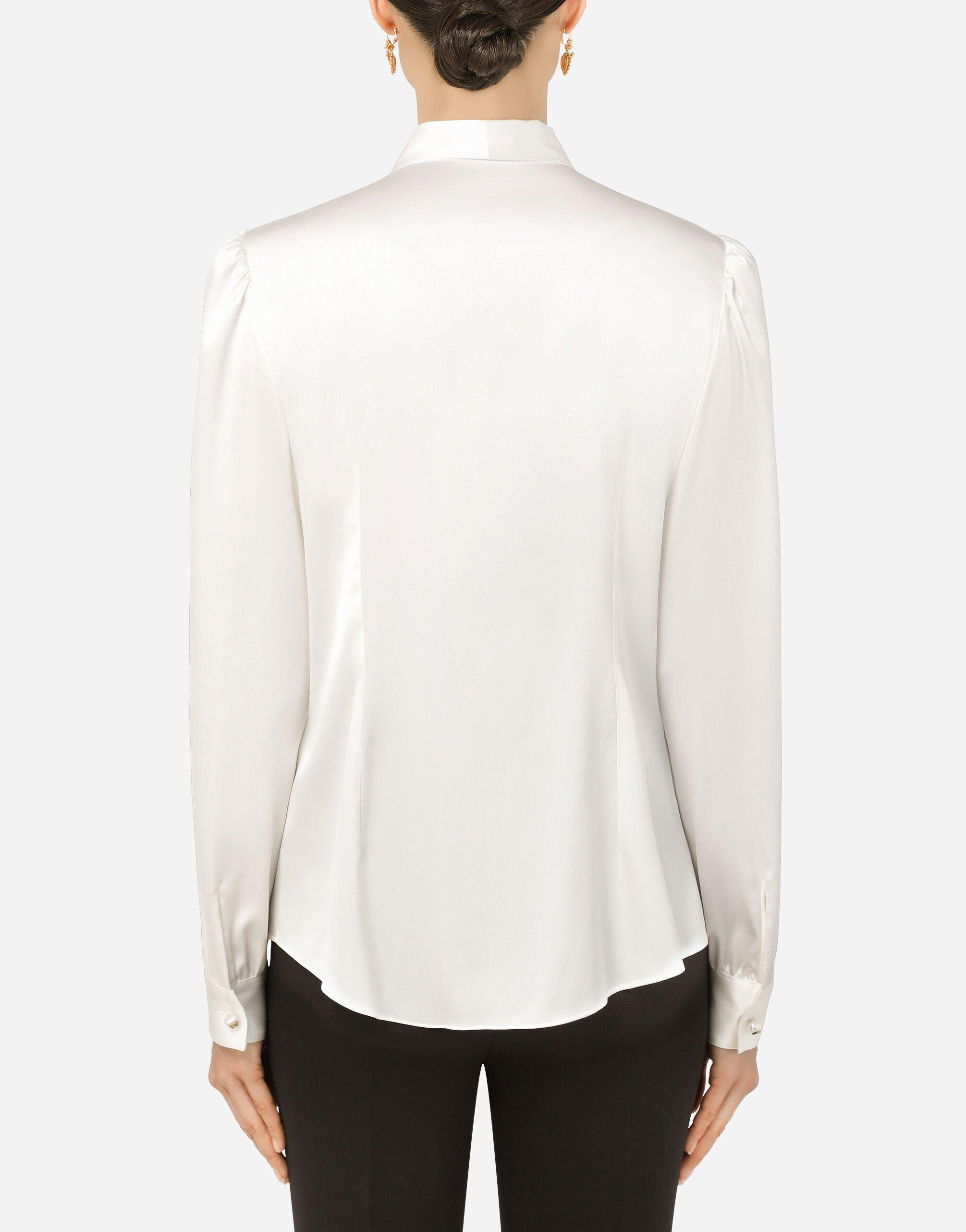 Satin shirt with pearl buttons with DG logo 1
