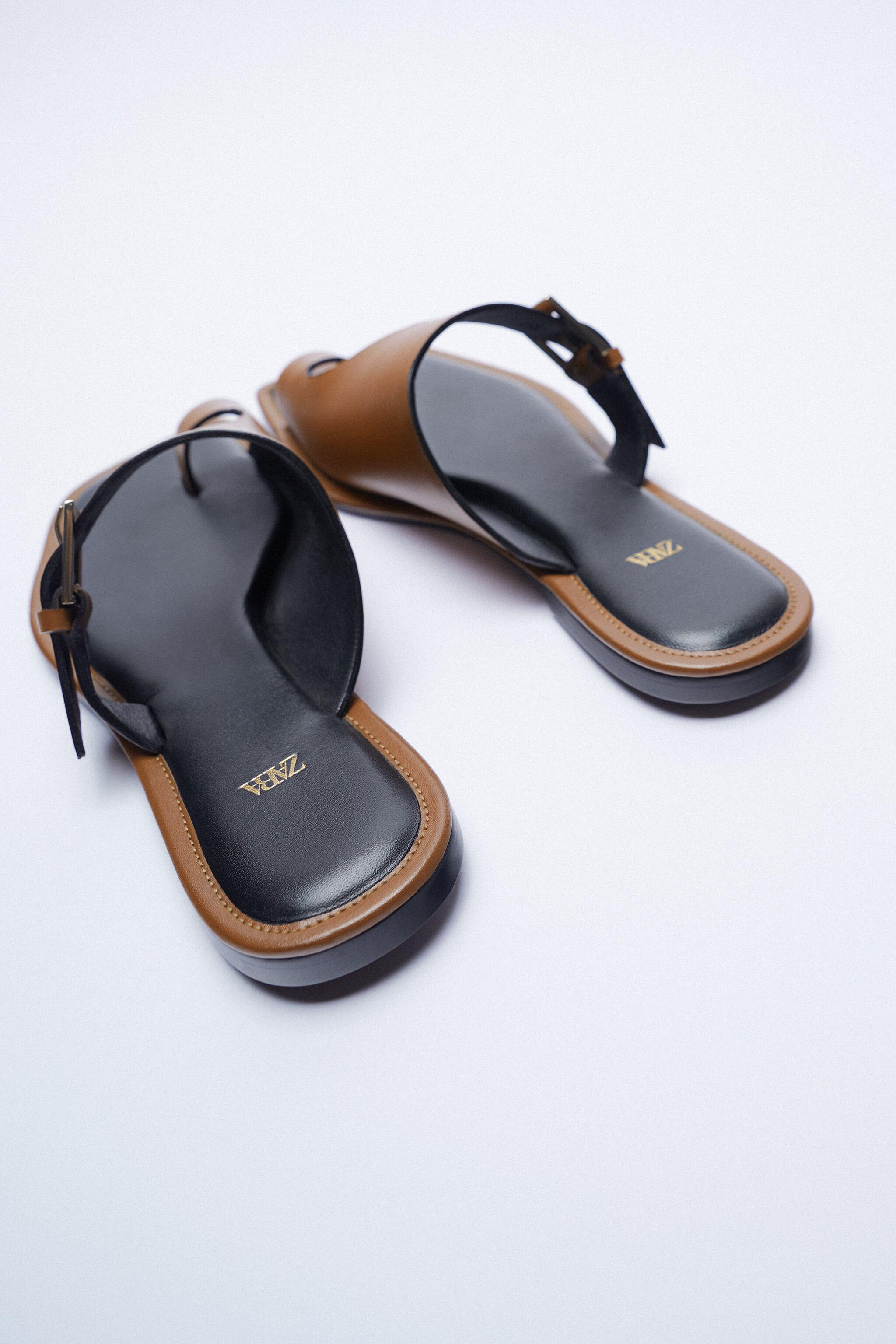 ASYMMETRICAL LEATHER SLIDE SANDALS WITH BUCKLE 9