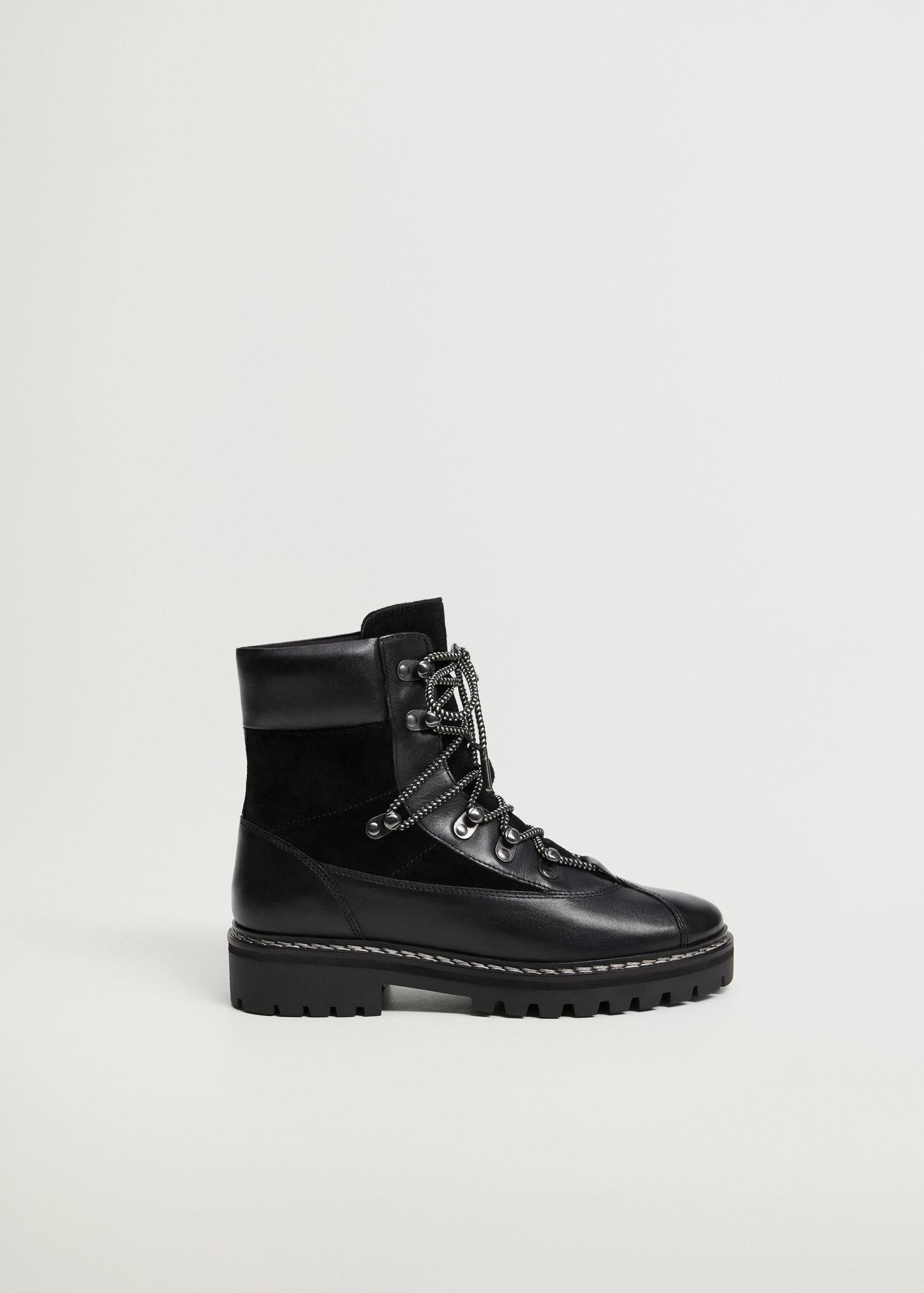 Contrast lace-up leather boots