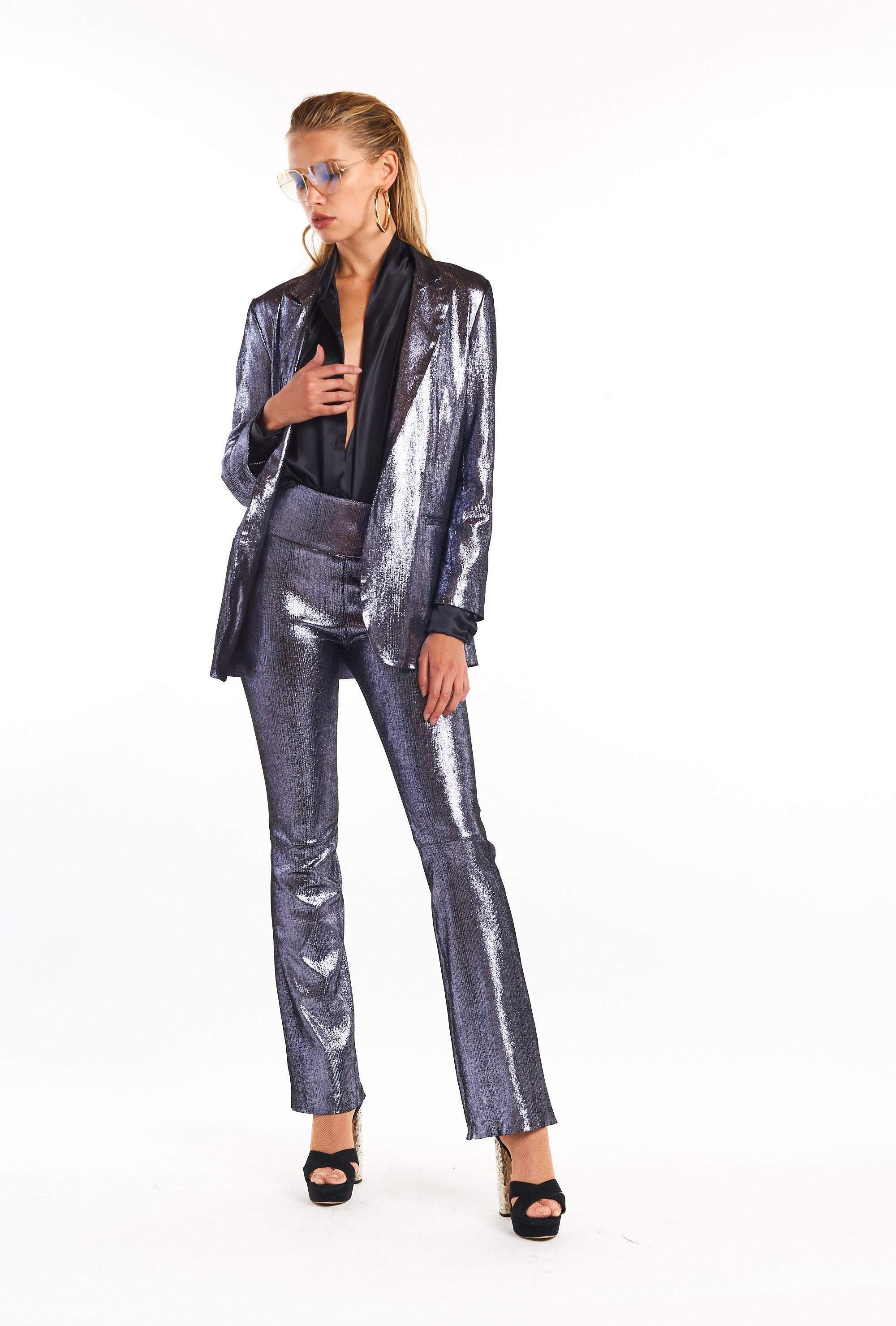 Crystal Metallic Micro Flare Suede Pant