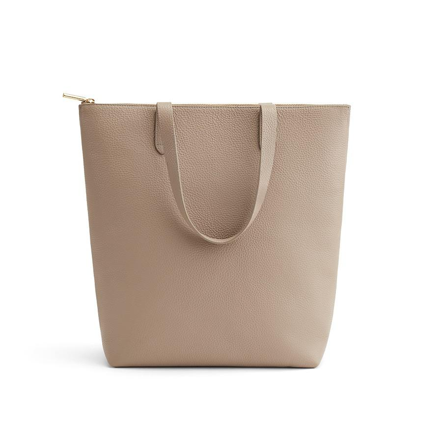 Women's Tall Structured Leather Zipper Tote Bag in Stone | Pebbled Leather by Cuyana
