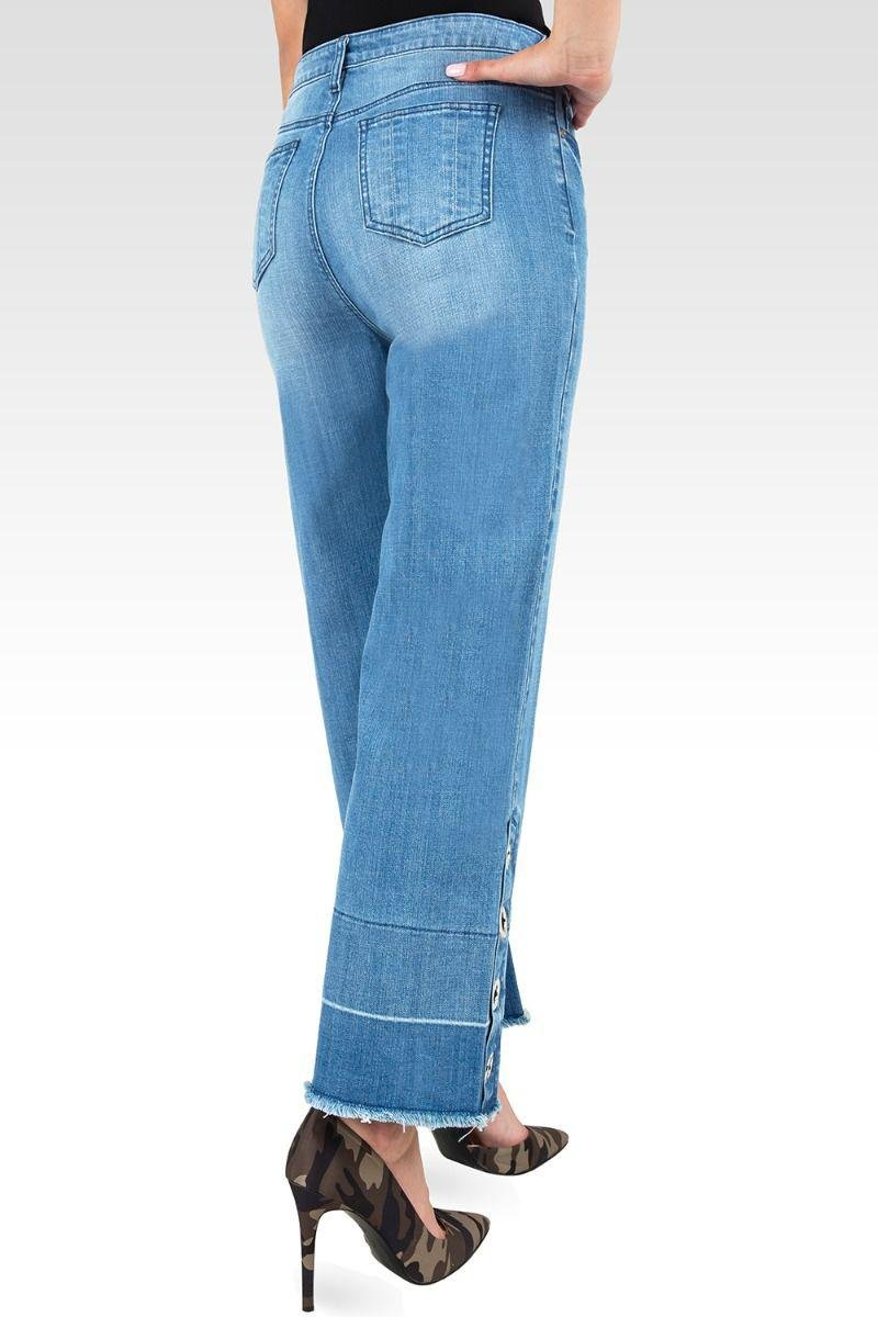 Meryl High-Rise Light Wash Cropped Jeans with Silver Grommets & Wide Released Hem 1