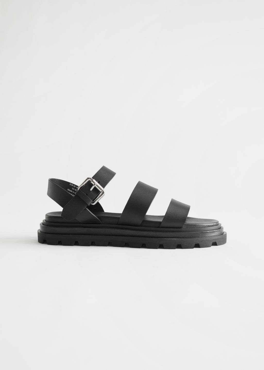 Chunky Sole Leather Sandals