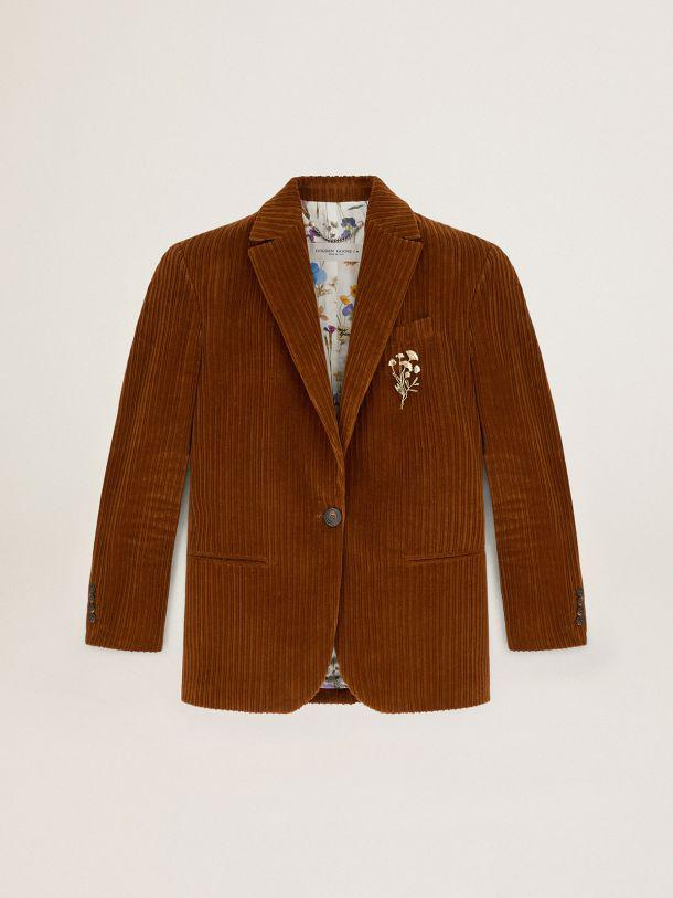 Terracotta-colored Journey Collection Bova single-breasted corduroy blazer 2
