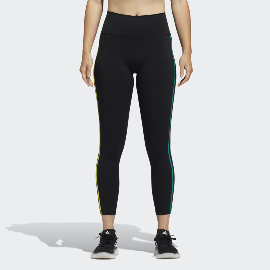 Pride Believe This 2.0 3-Stripes 7/8 Tights Black S - Womens Training Pants