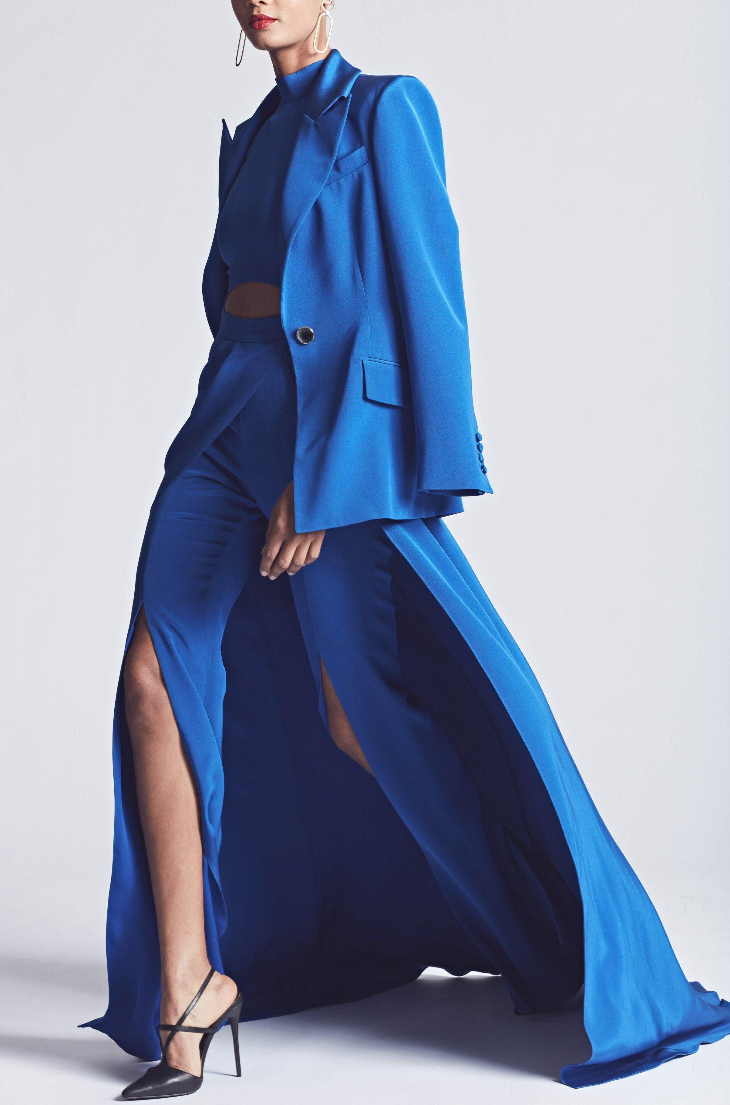 CREPE CUTOUT JUMPSUIT WITH OVERSKIRT