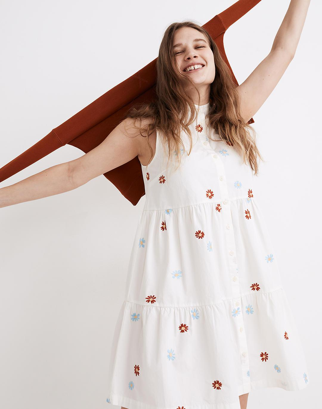 Daisy Embroidered Banded-Collar Tiered Dress 1