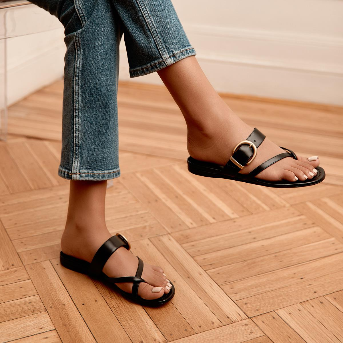 Hayley | Leather Thong Sandal With Metal Buckle Detail 4
