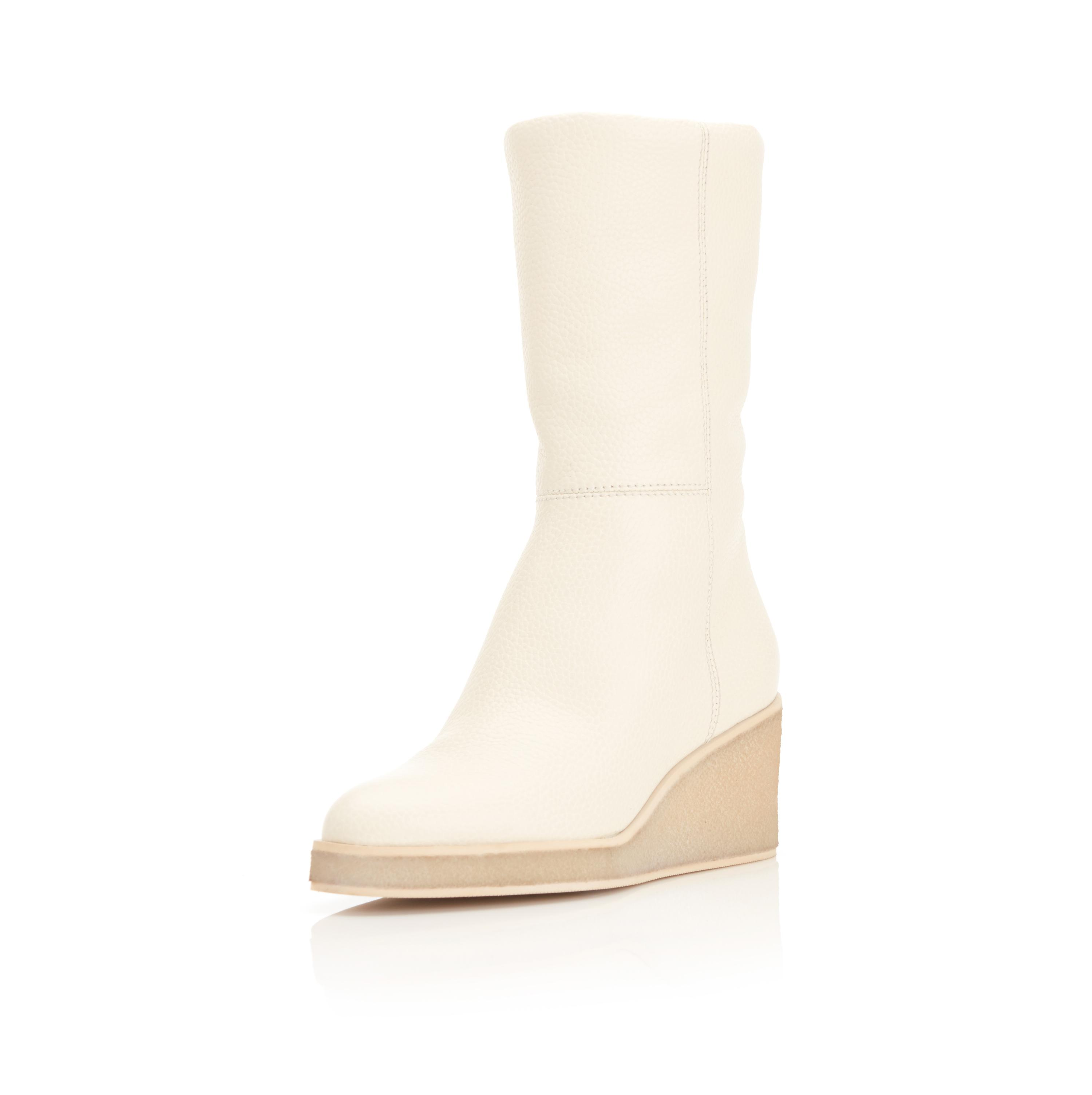 Tucker   Pebbled Leather Wedge Boot 1