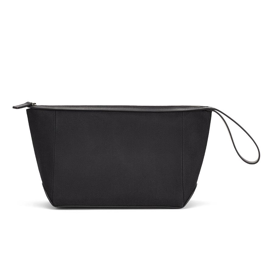 Women's Travel Zipper Pouch in Black | Canvas & Smooth Leather by Cuyana