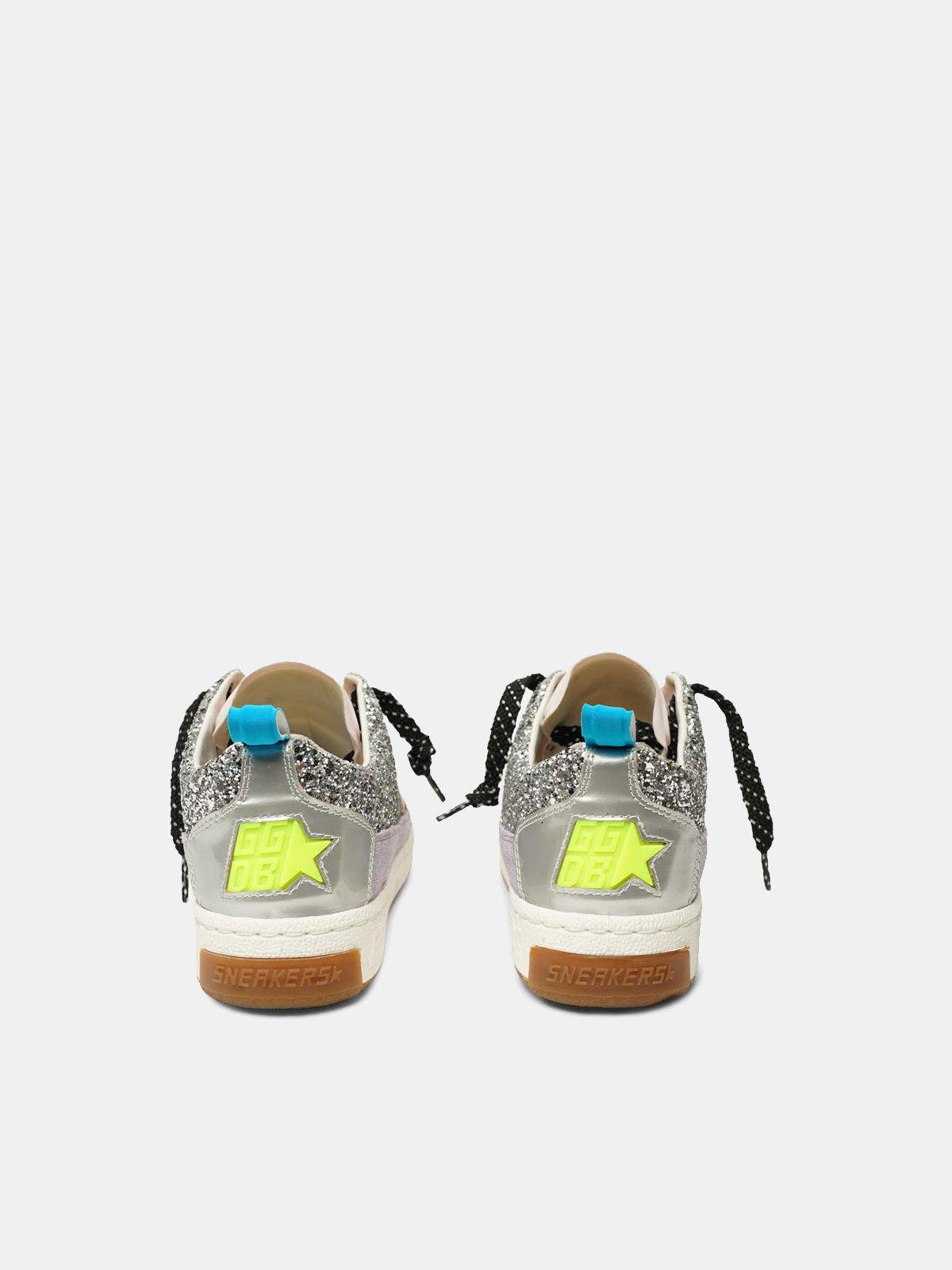 Yeah! sneakers in silver mesh with a pink star 1