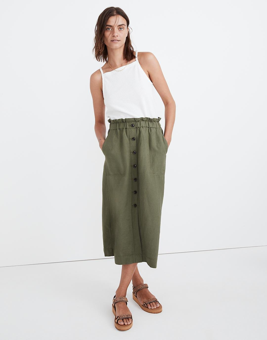 Paperbag Button-Front Midi Skirt