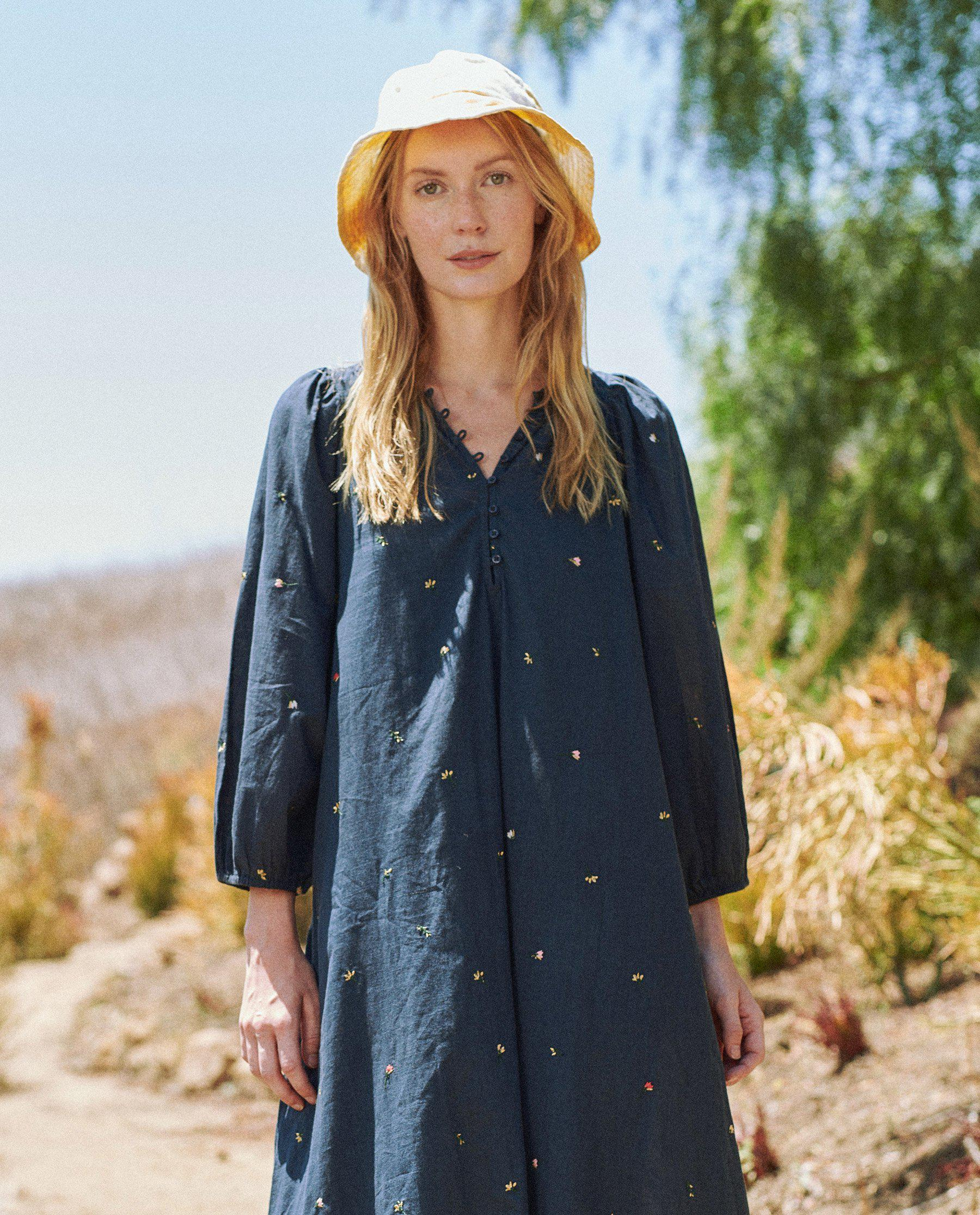 The Morning Dress. -- Navy with Tossed Floral Embroidery