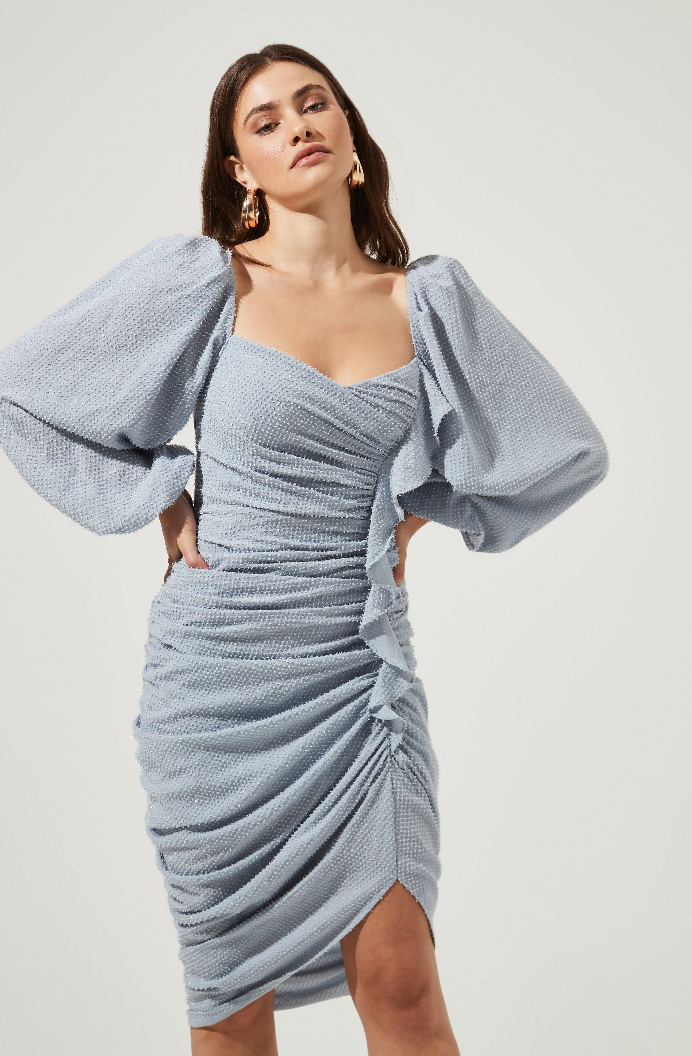 Athens Ruched Puff Sleeve Shimmer Midi Dress