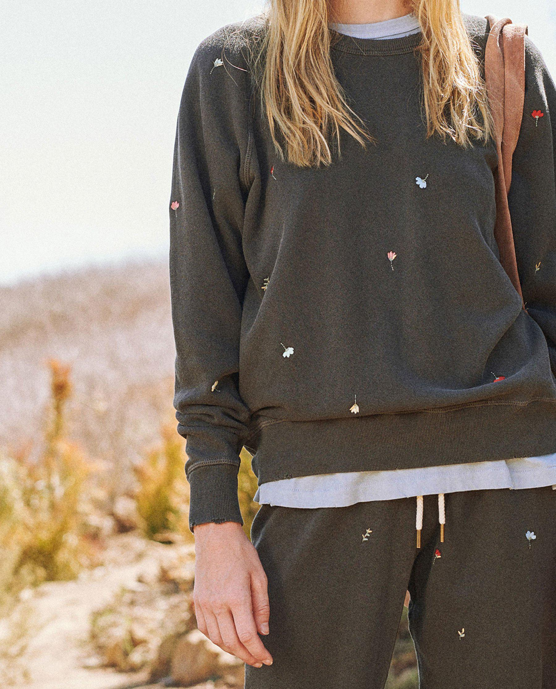 The College Sweatshirt. Embroidered -- Washed Black with Tossed Floral Embroidery 2