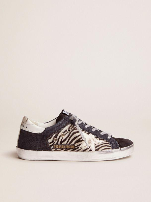 LAB Limited Edition Super-Star sneakers in denim, zebra-print pony skin and suede