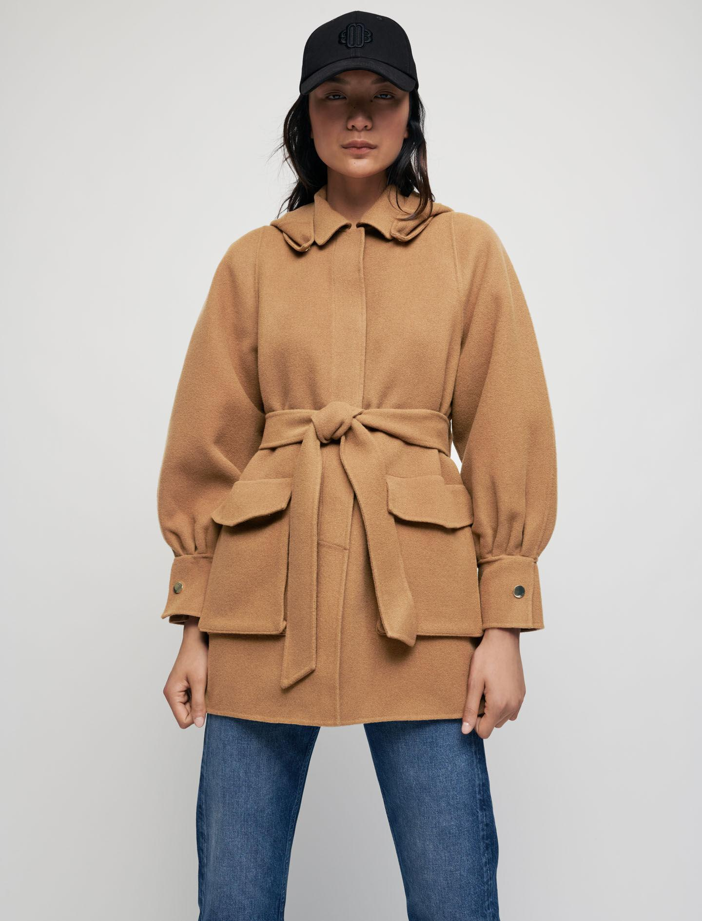 DOUBLE-FACED WOOL BLEND BELTED COAT