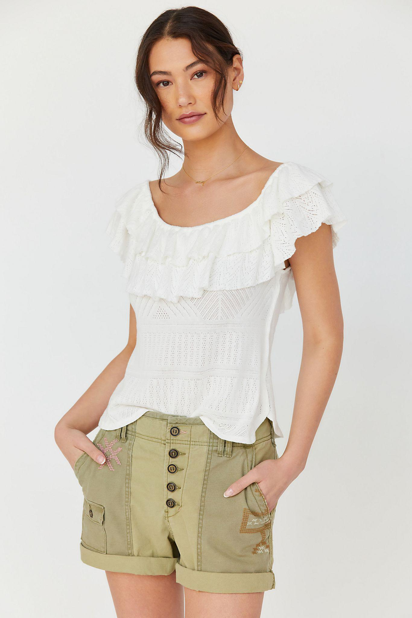 Ruffled Pointelle Top