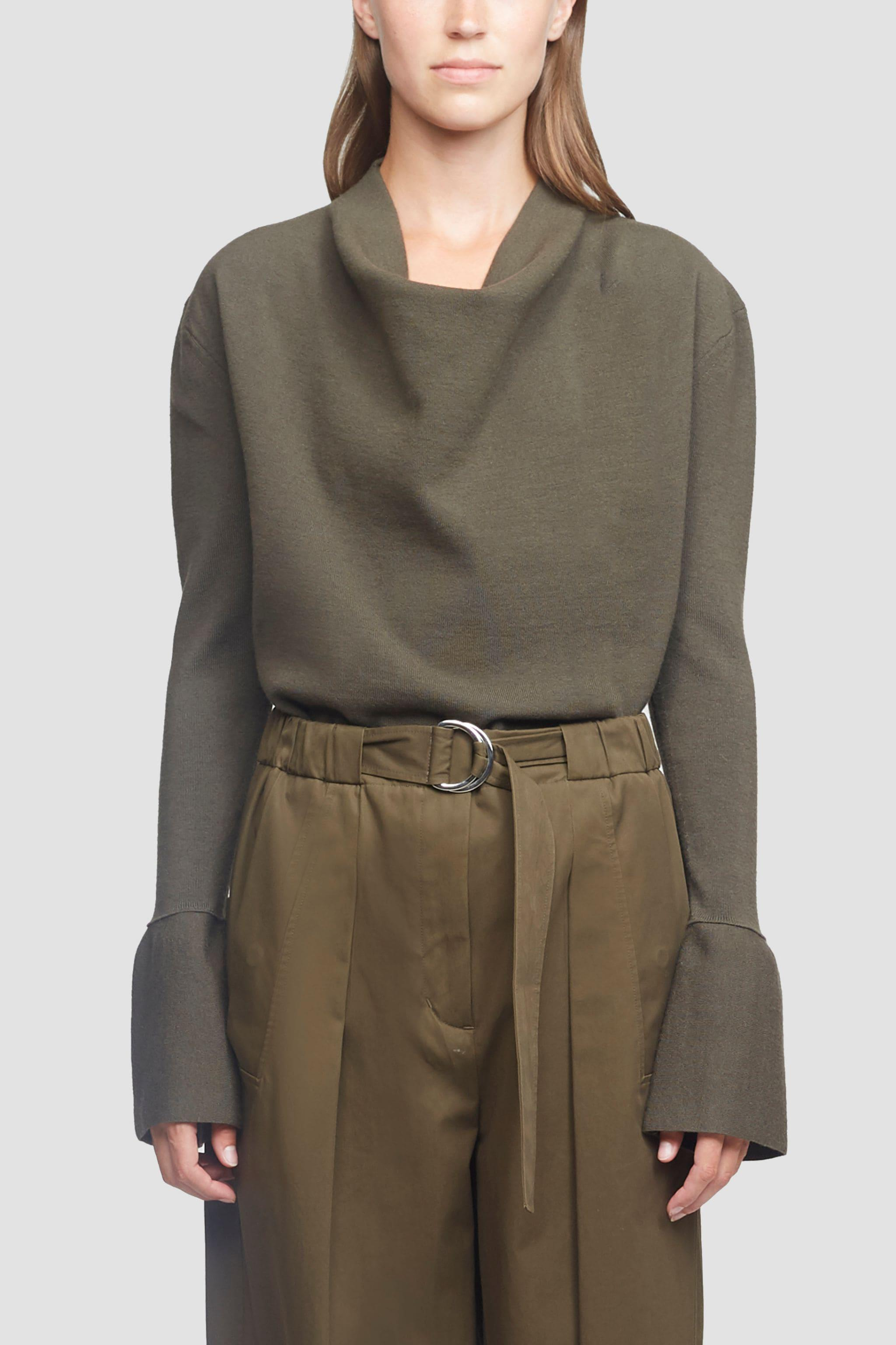 Cowl Neck Military Ribbed Sweater