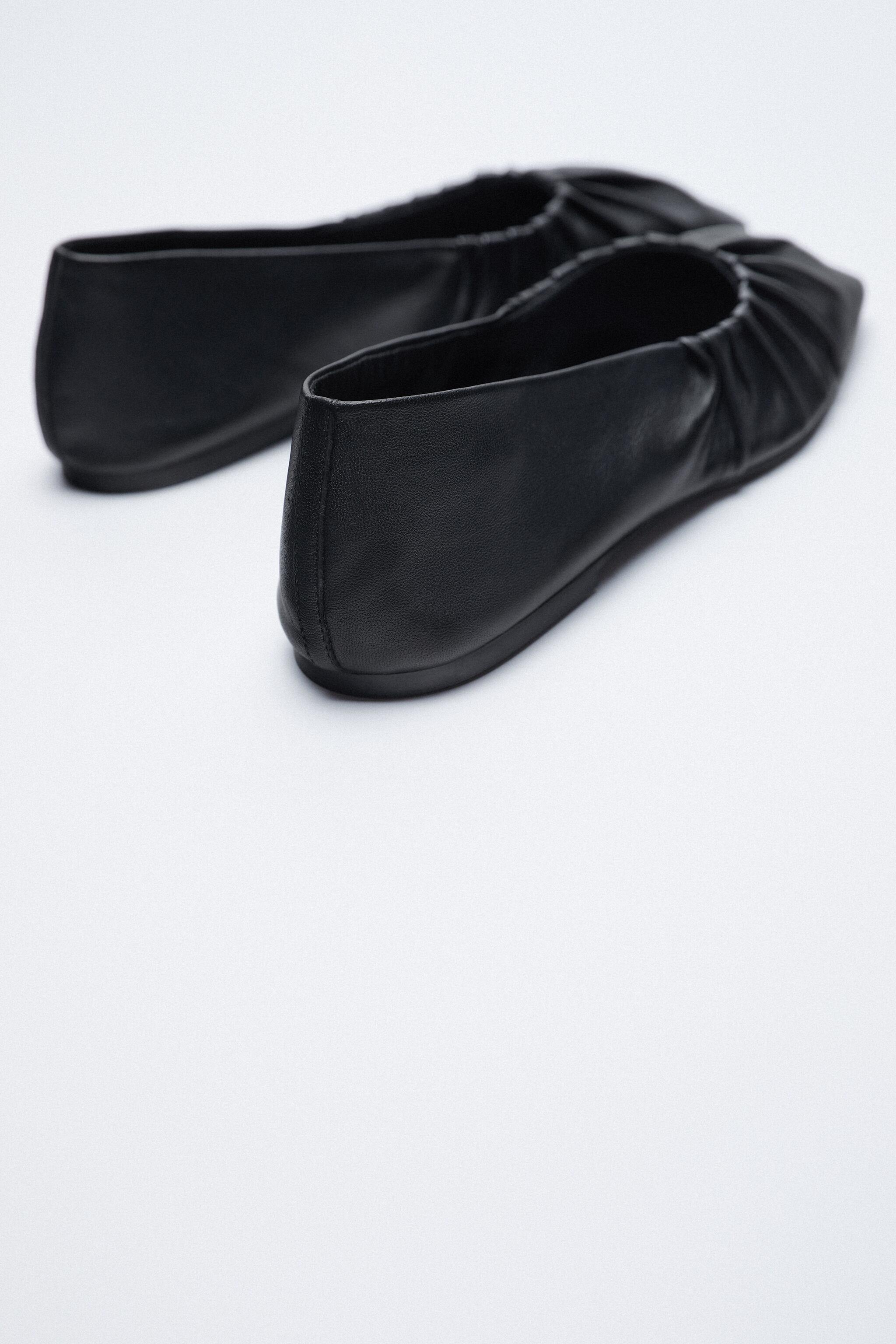RUCHED LEATHER BALLET FLATS 3