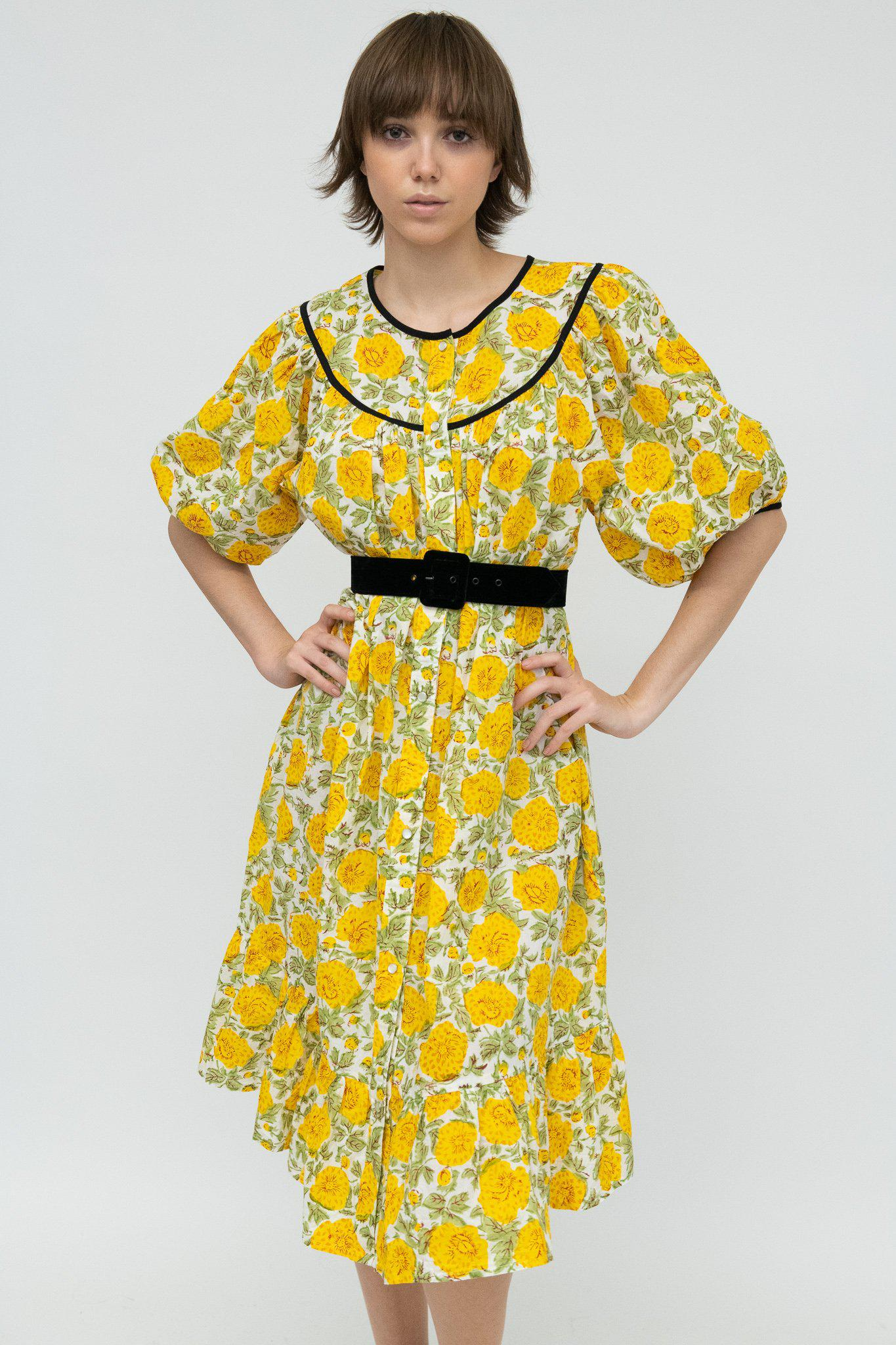 Snap Housedress in Yellow Floral