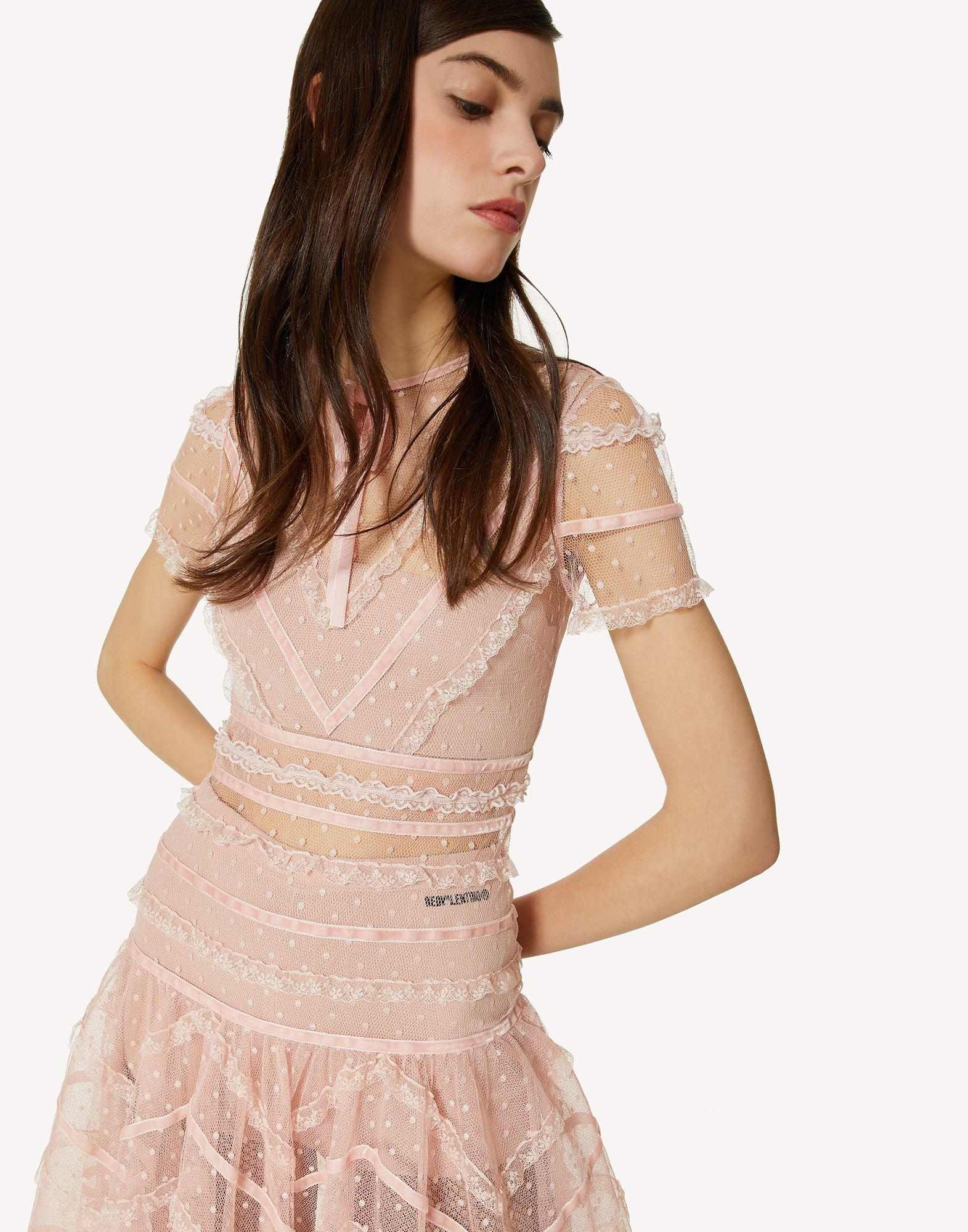 POINT D'ESPRIT TULLE DRESS WITH LACE AND VELVET RIBBONS 3