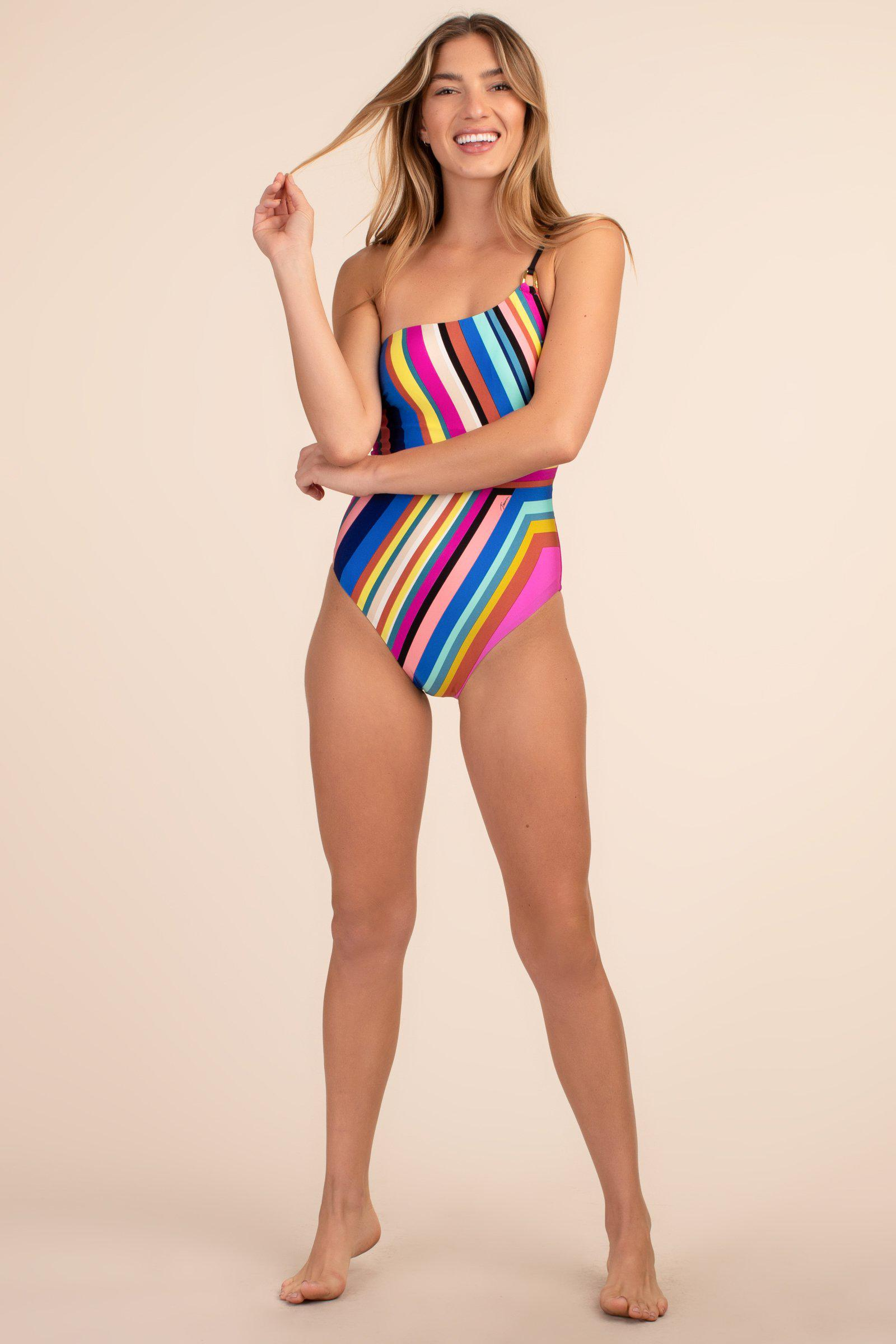ILLUSIONS STRIPE ONE-SHOULDER ONE-PIECE 3
