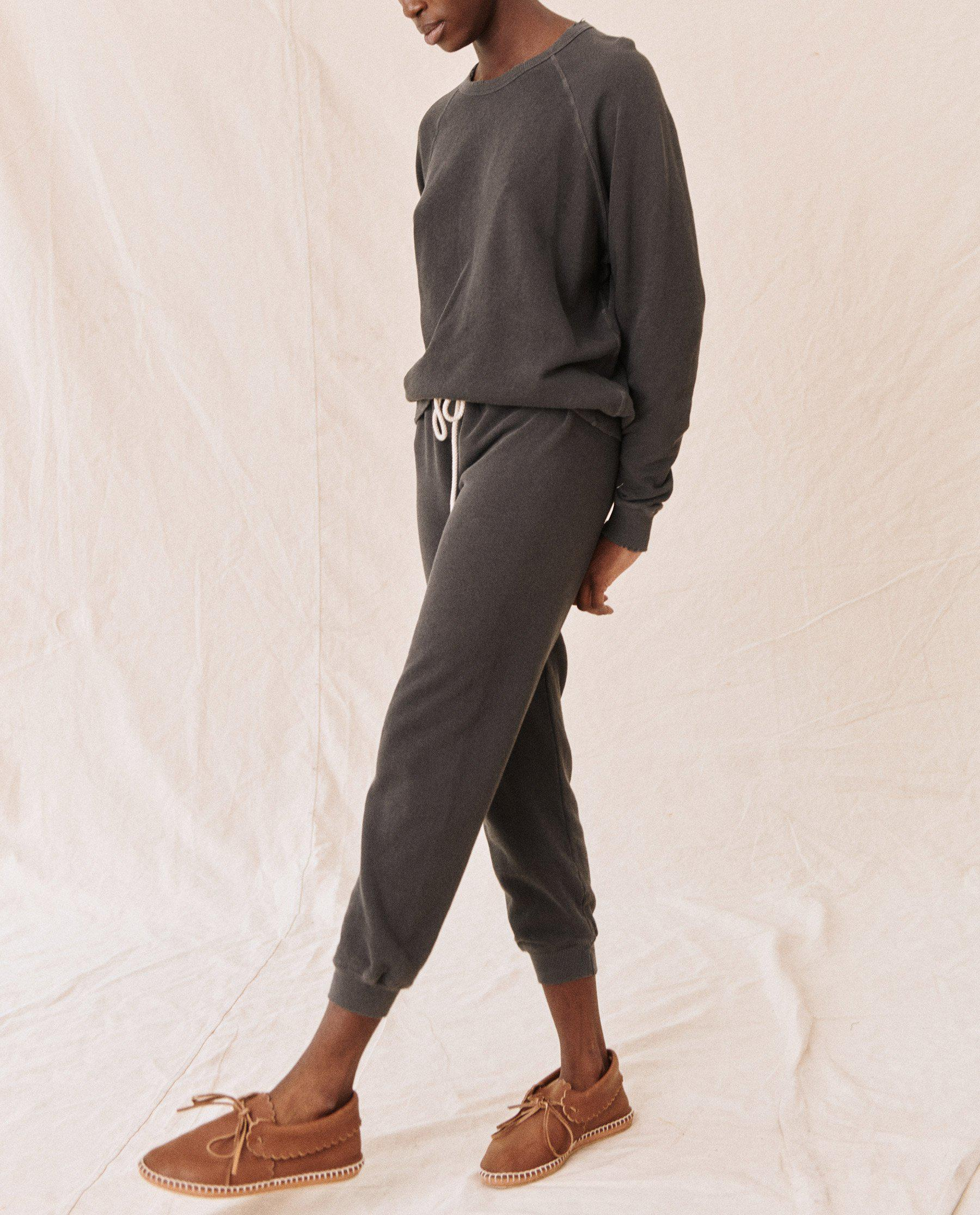 The Cropped Sweatpant. Solid -- Washed Black 3