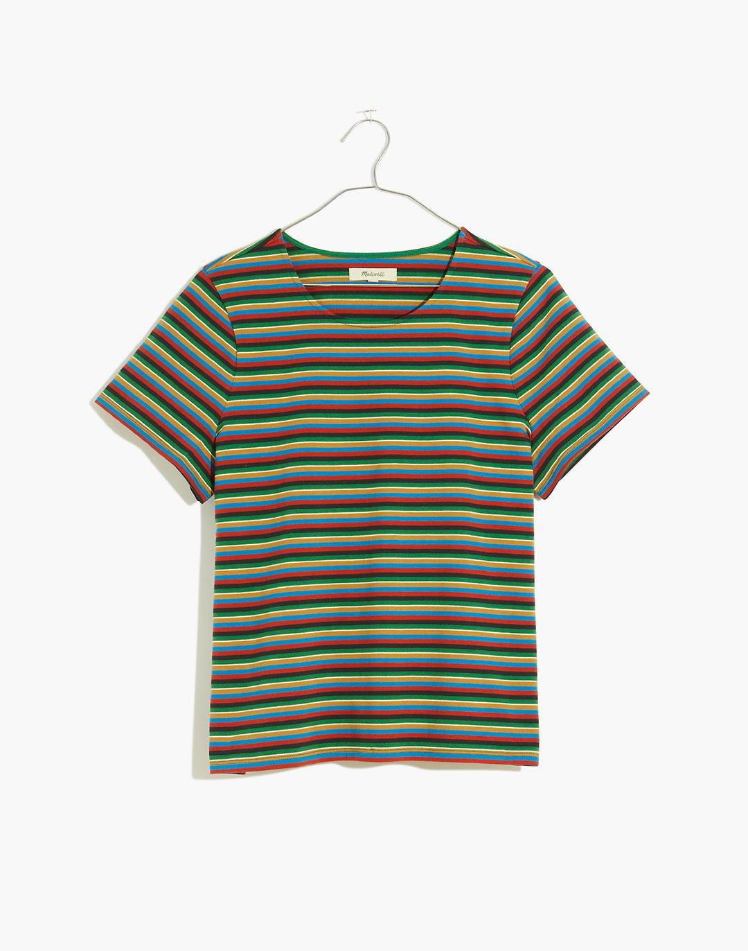 Luxe Boxy-Crop Tee in Mathis Stripe 3