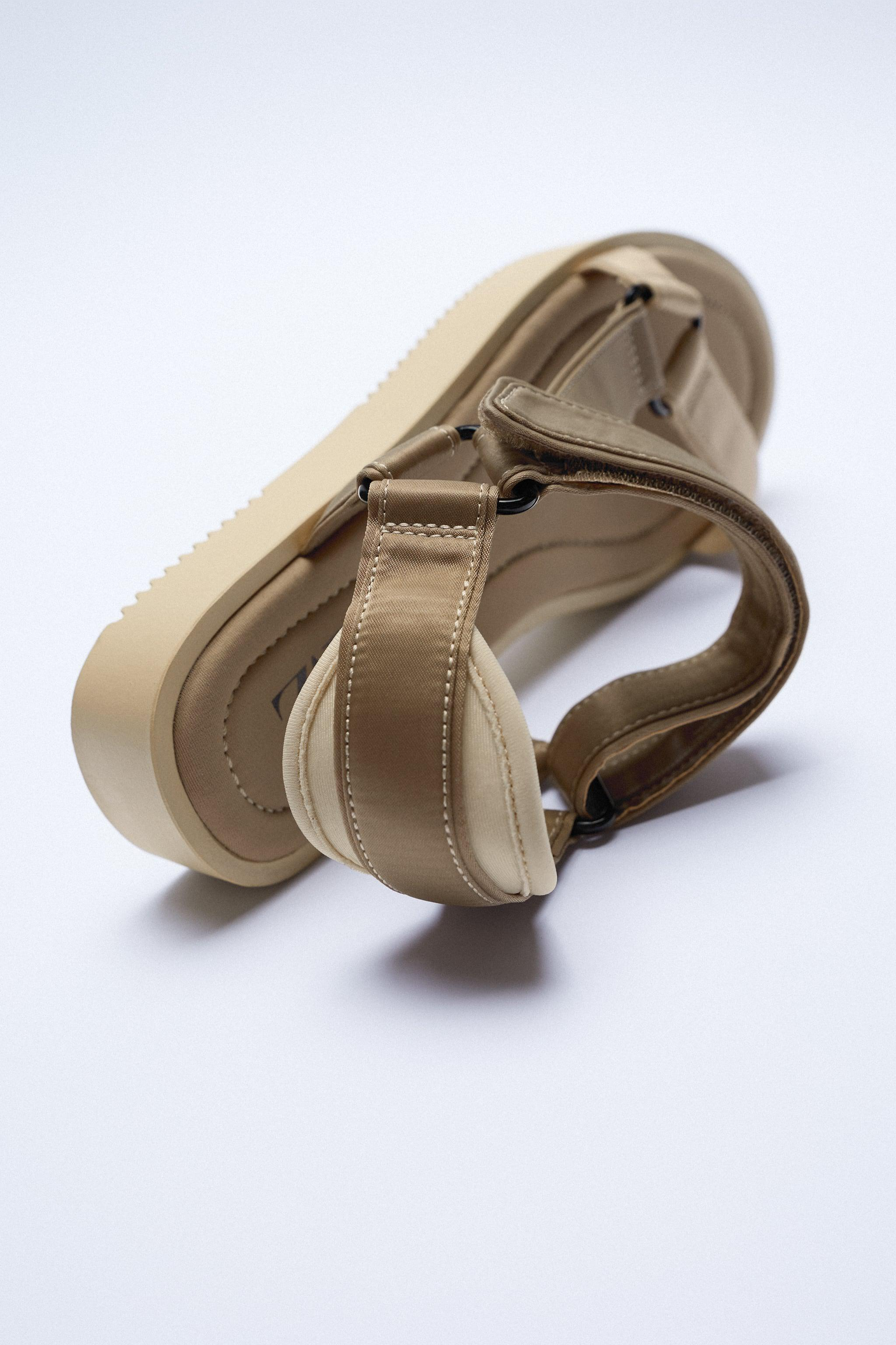 STRAPPY SATIN EFFECT CHUNKY SANDALS 7