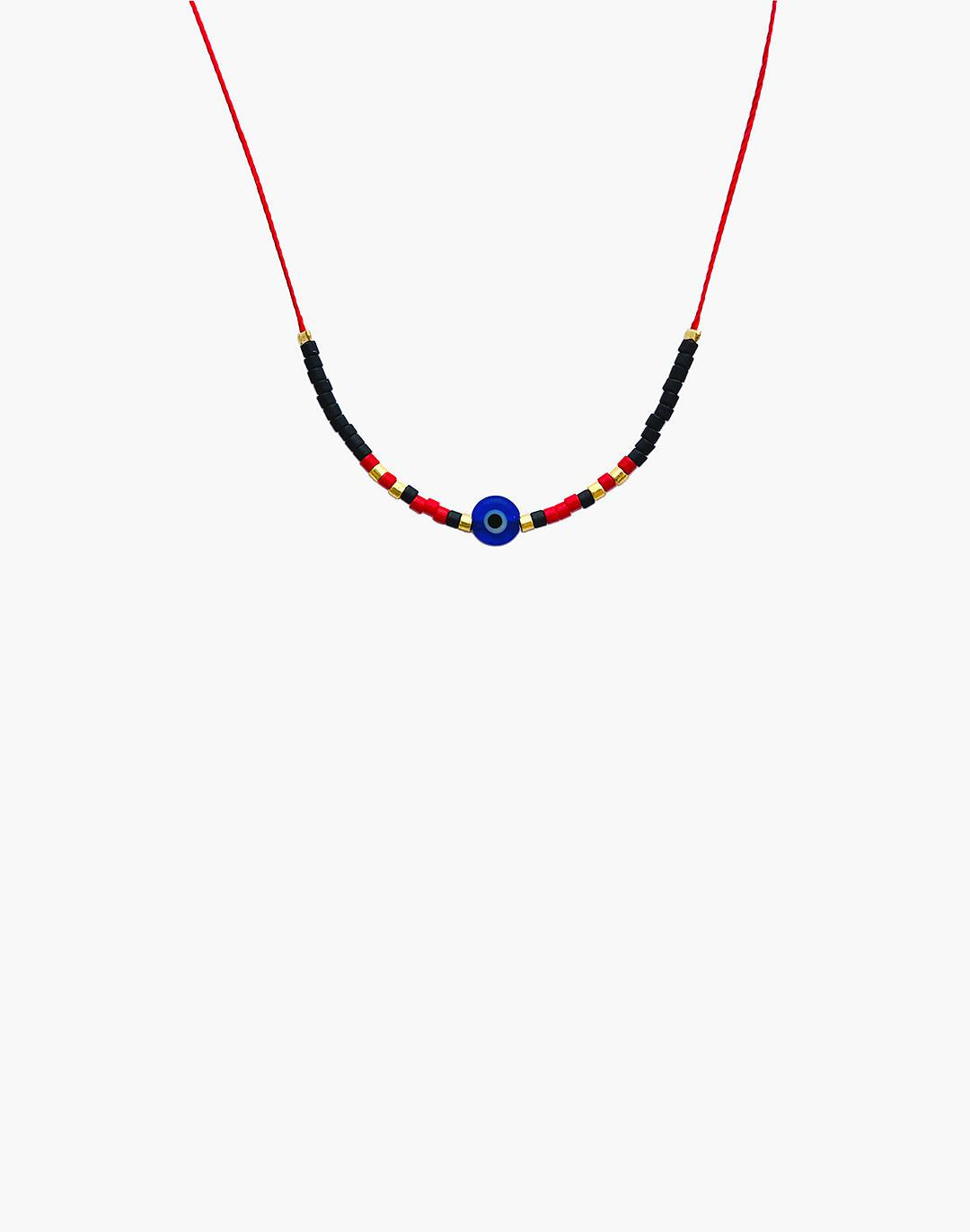 Cast of Stones Evil Eye Necklace in Cobalt and Red 1
