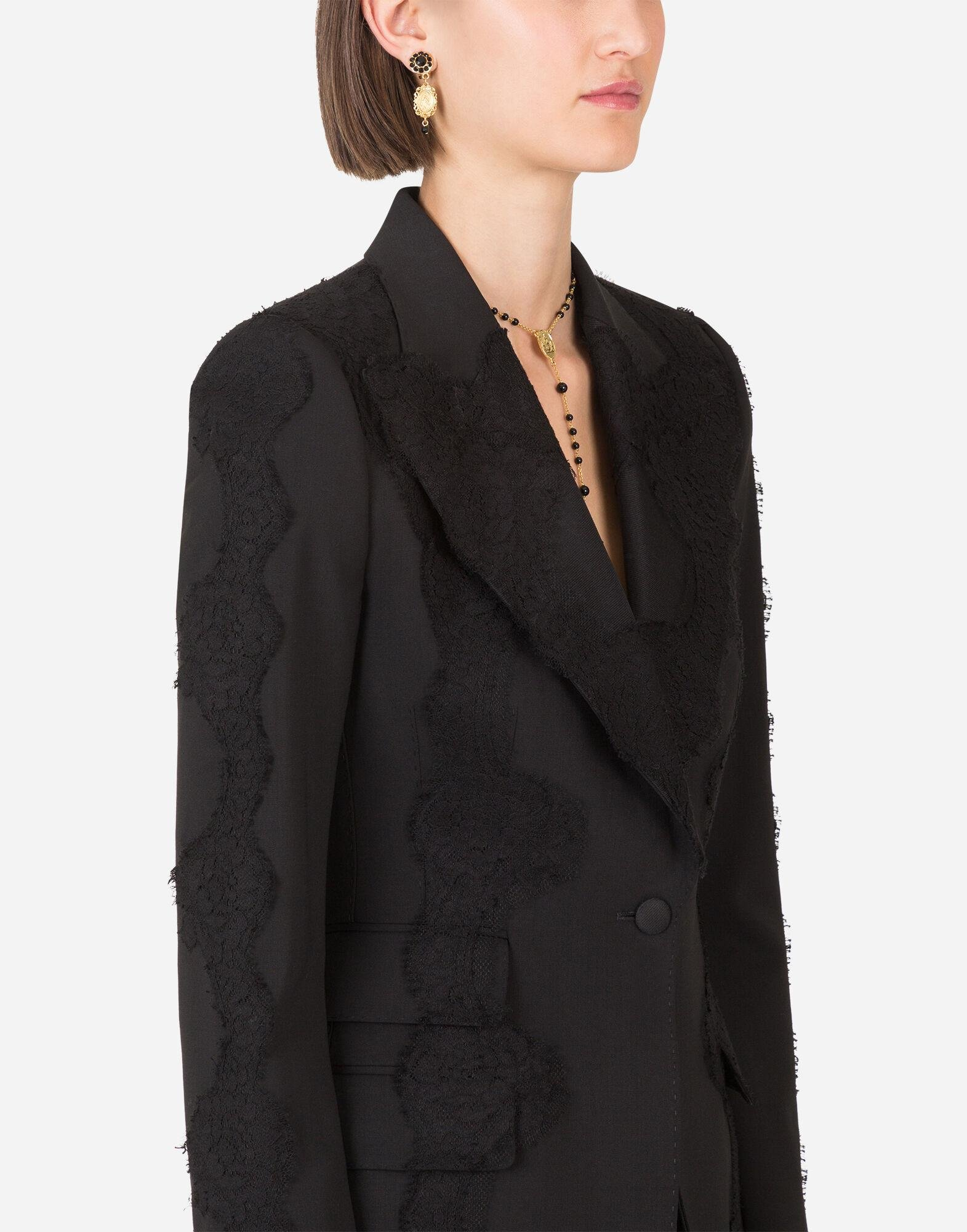 Single-breasted woolen blazer with lace details 2