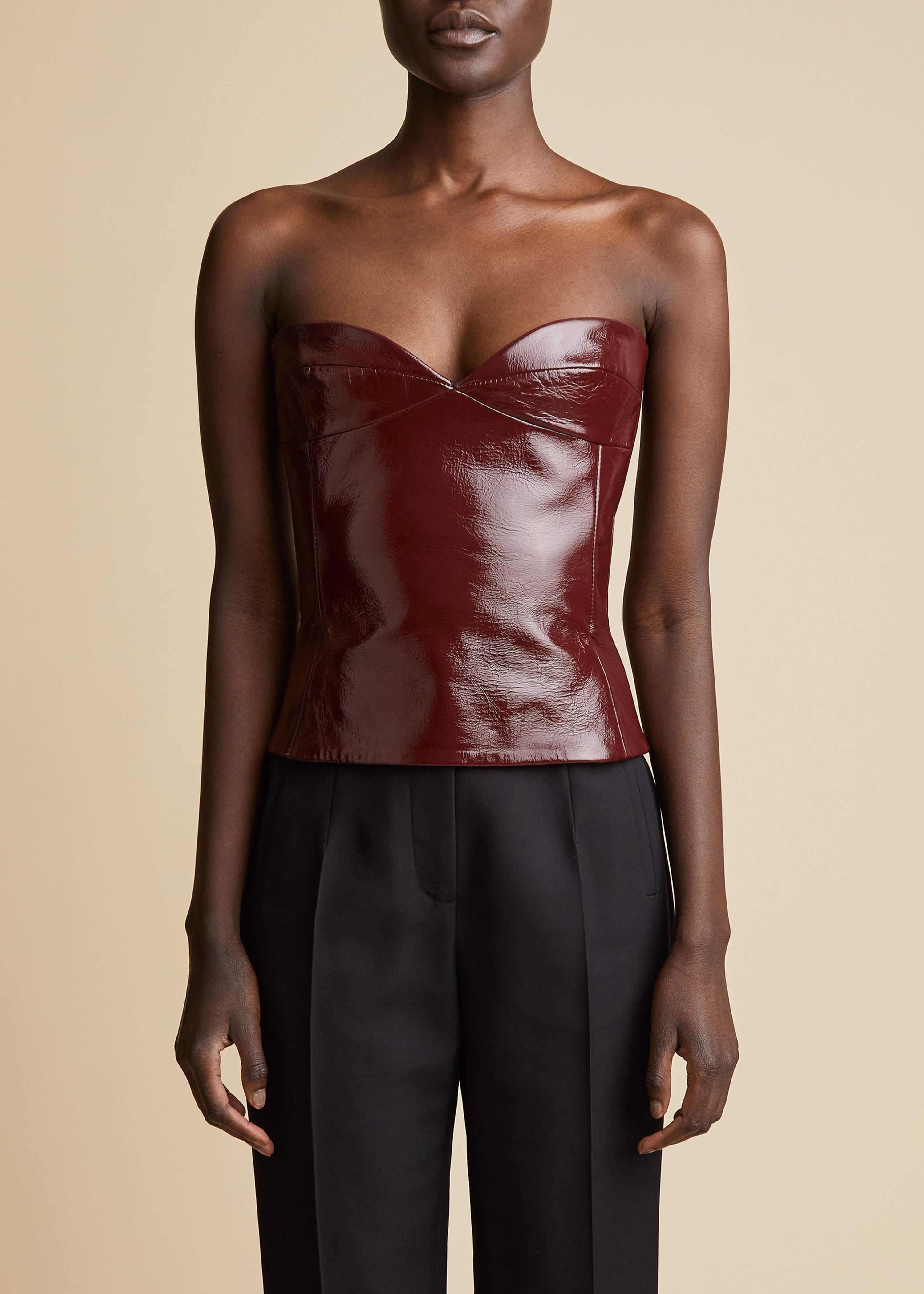 The Prim Top in Bordeaux Patent Leather
