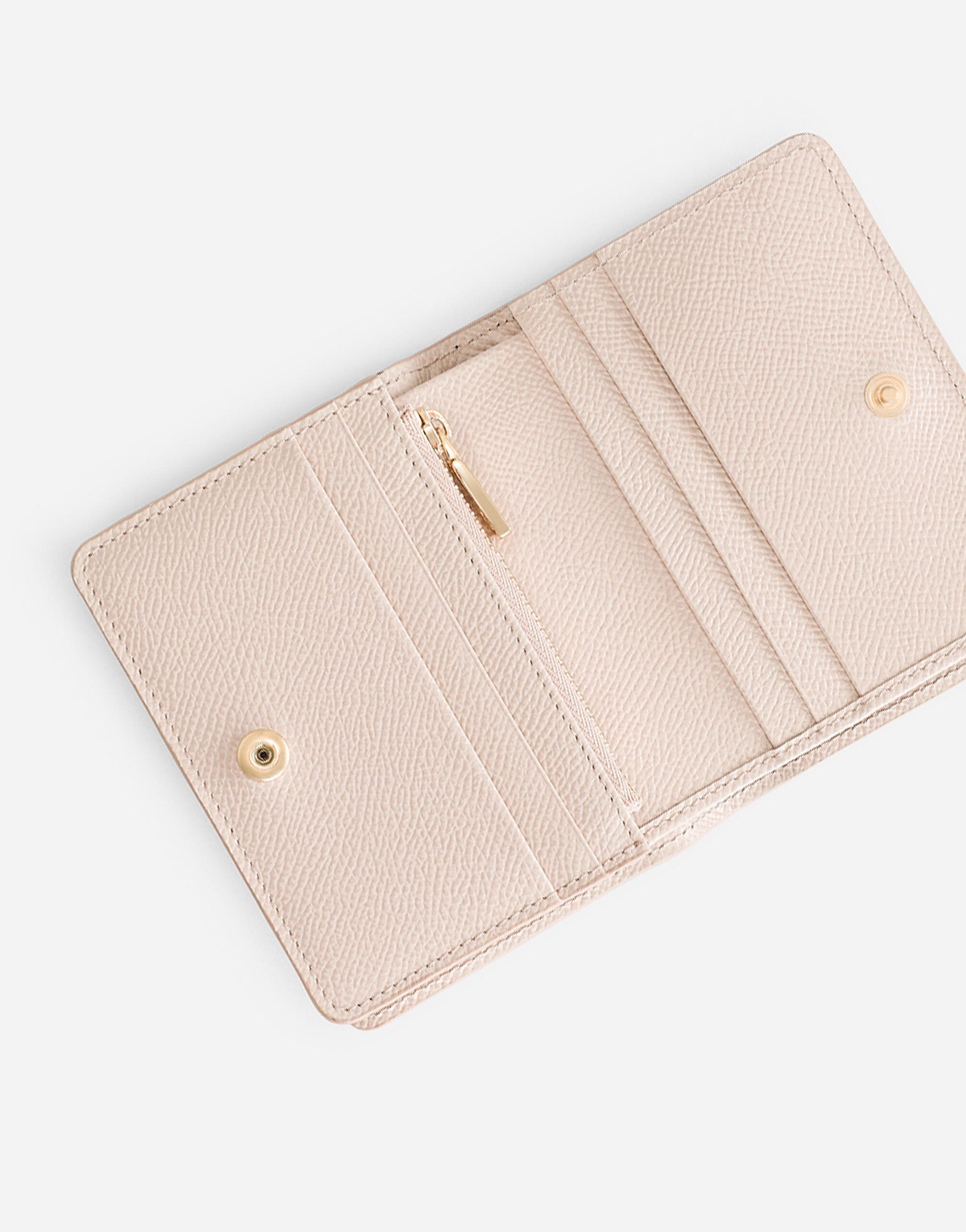 Small continental wallet in Dauphine calfskin with rhinestone-detailed DG logo 3