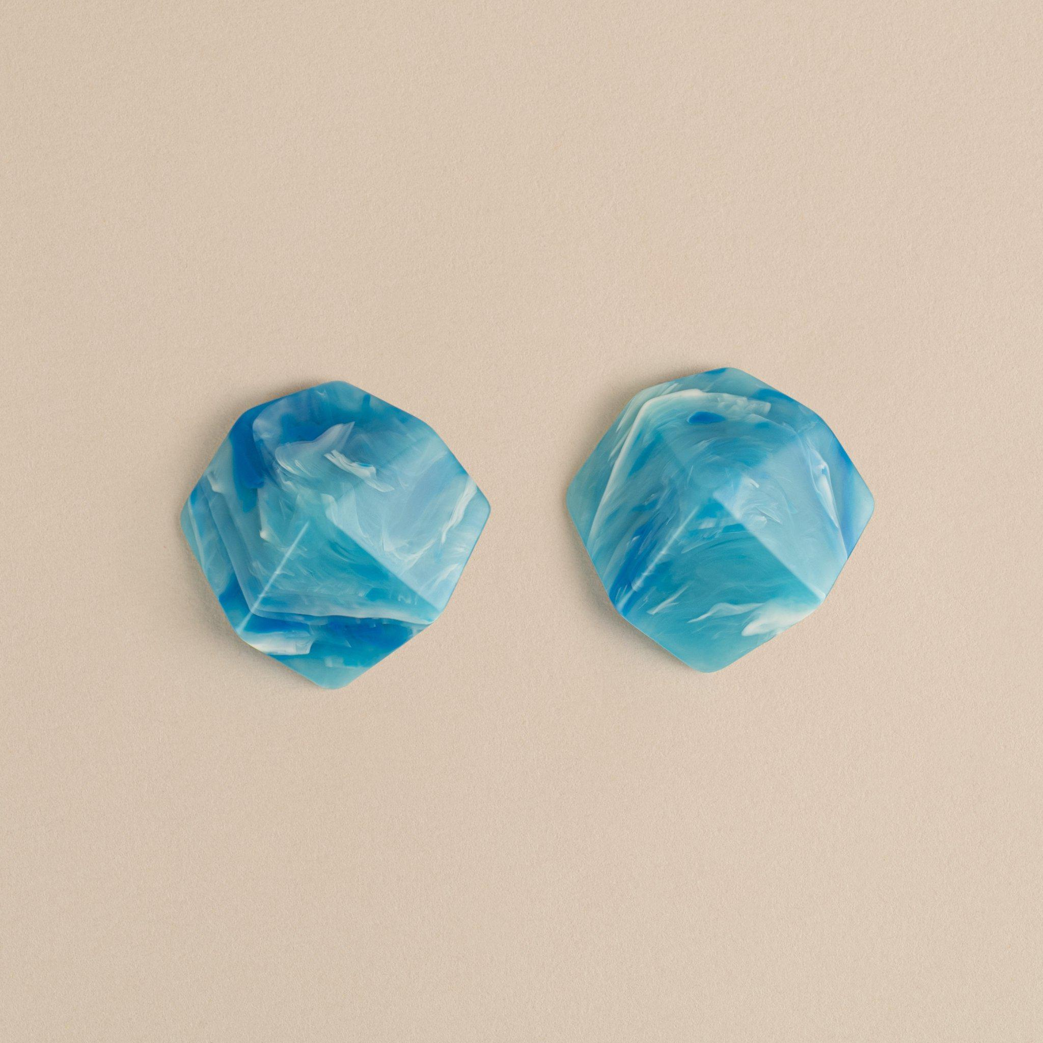 Sculpture Studs in French Coast Blue