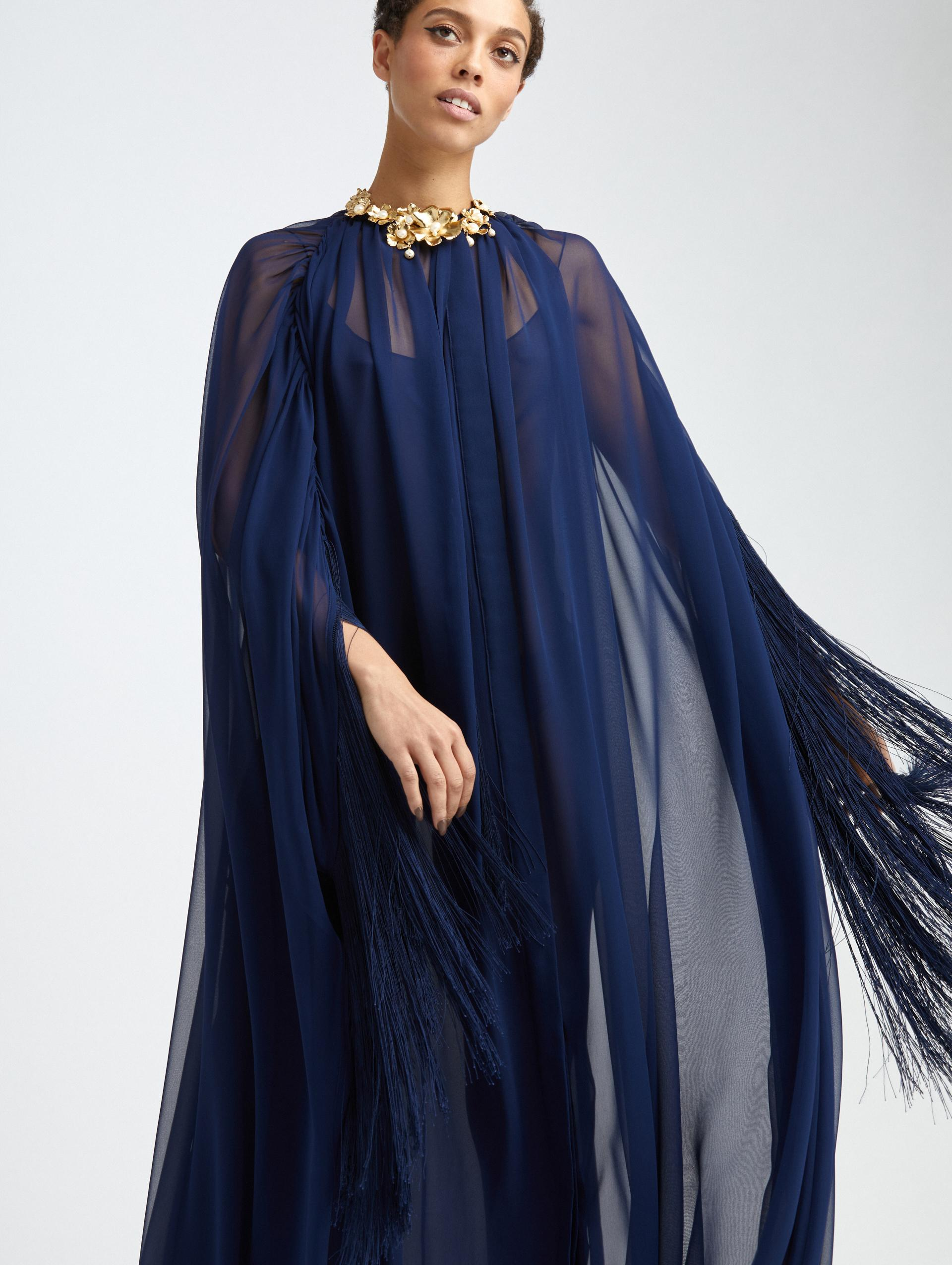 FRINGED BUTTON FRONT SILK CAFTAN 2