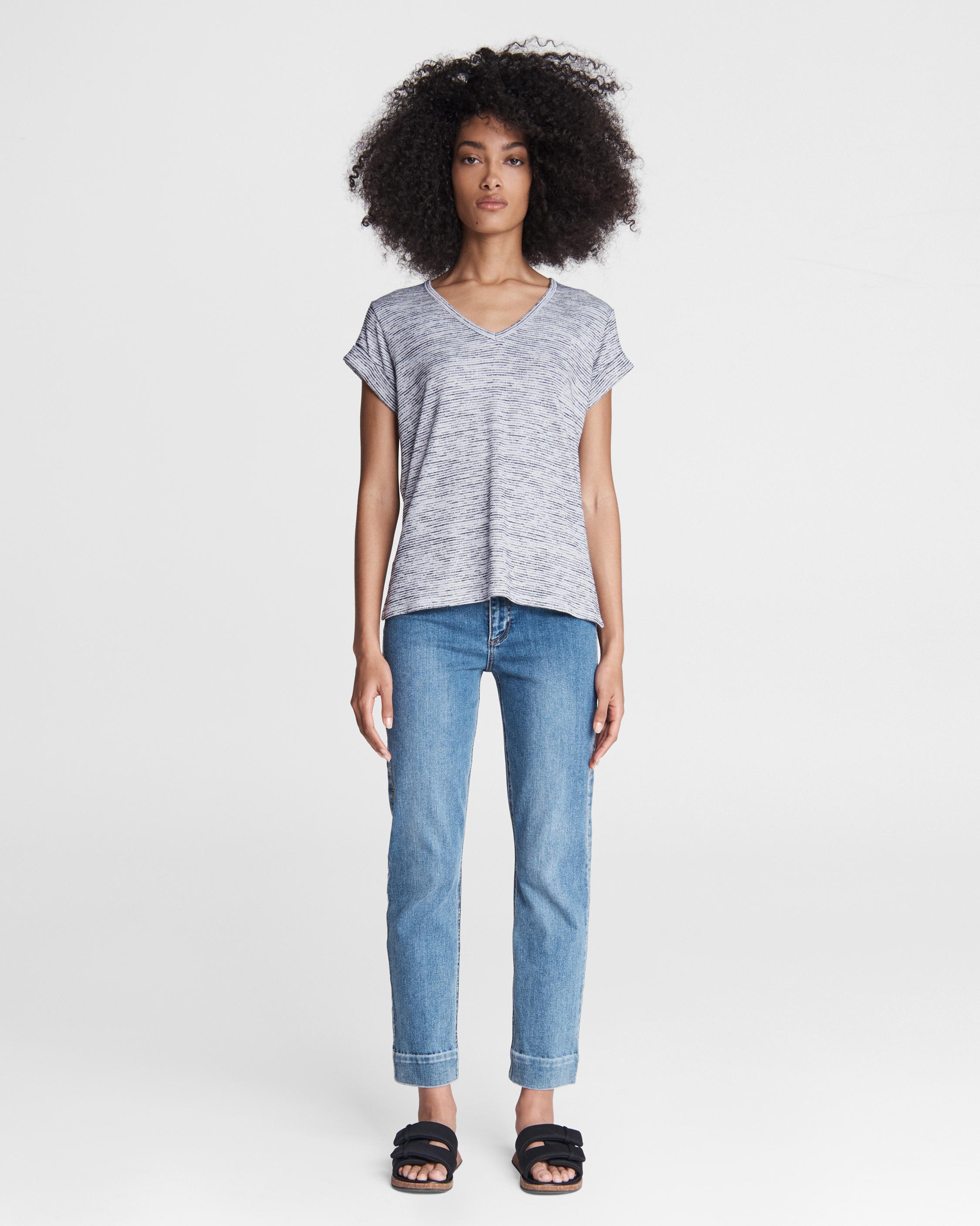 The knit v-neck striped tee 1
