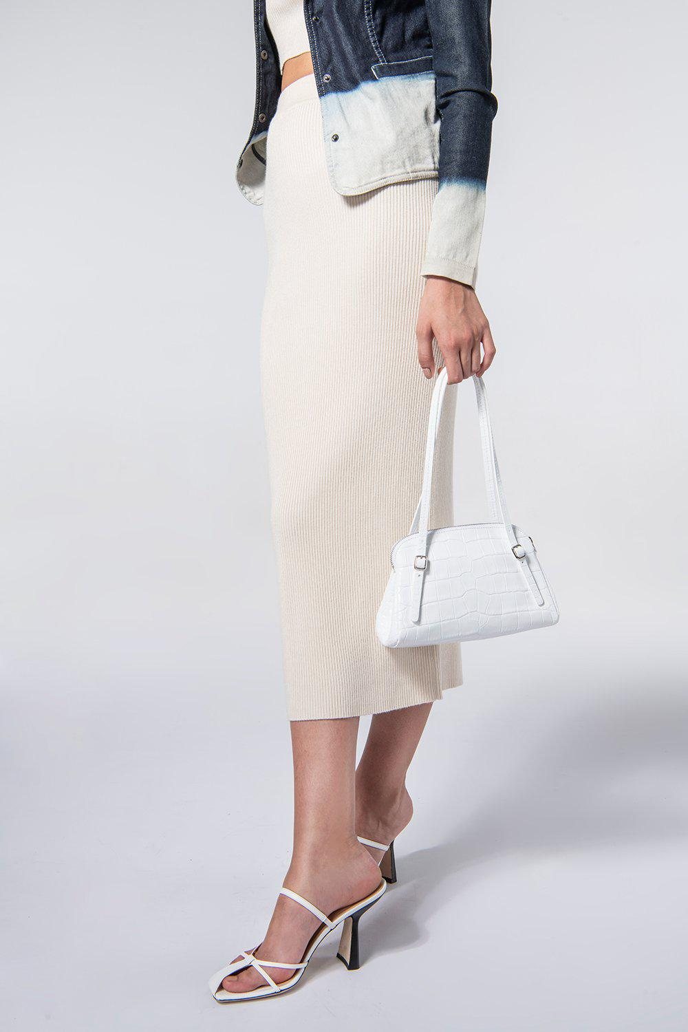 Lora White Croco Embossed Leather 5