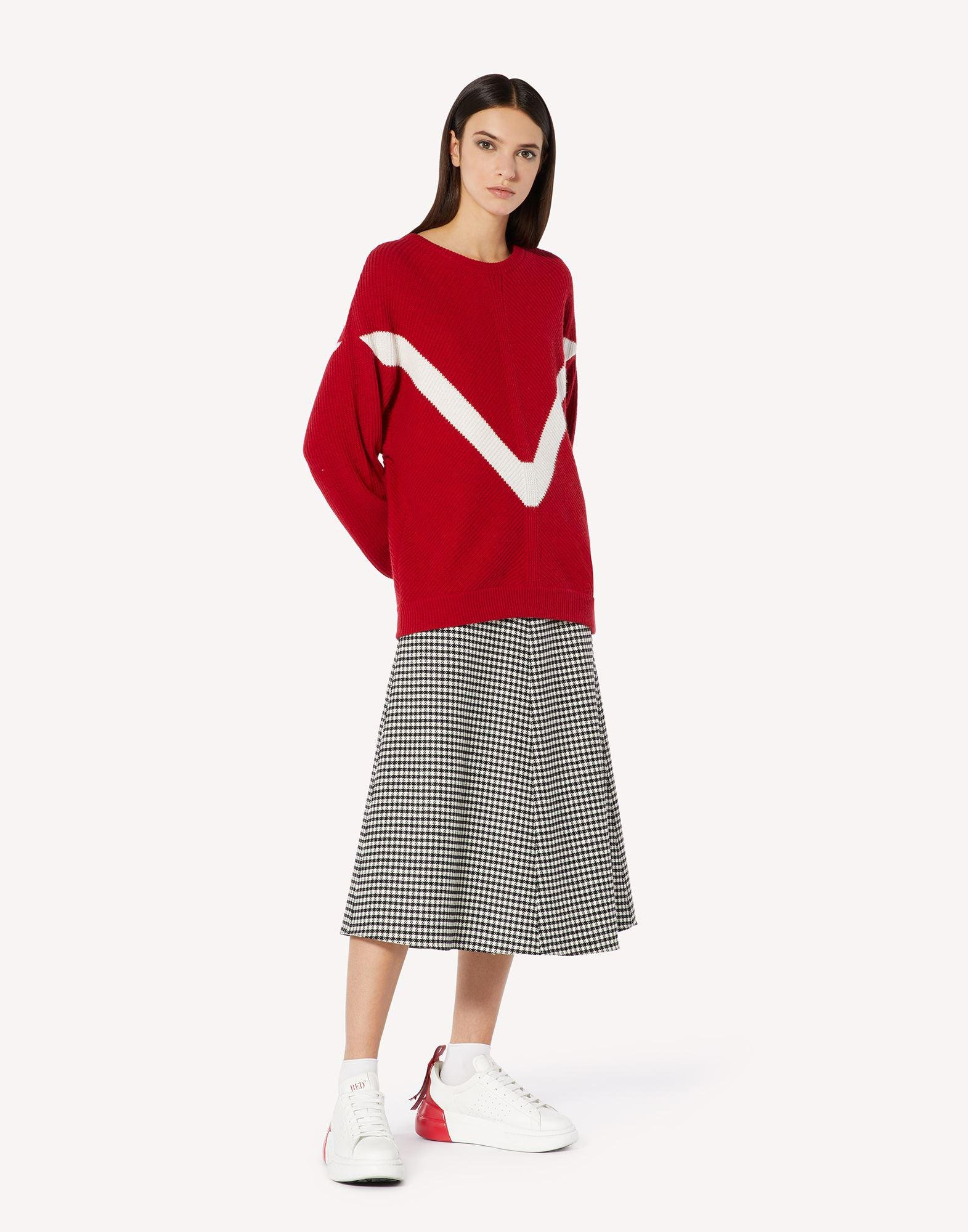 RED EMBROIDERED WOOL-BLEND SWEATER 2