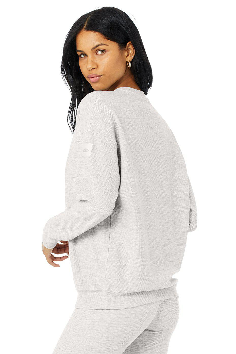 Micro Waffle Relaxation Pullover - Dove Grey Heather 2