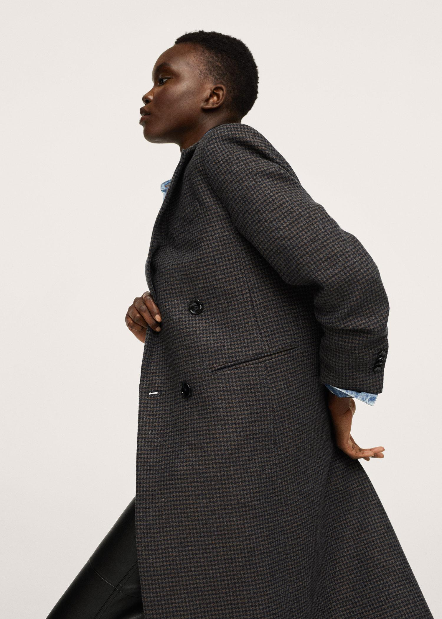 Checked wool-blend overcoat
